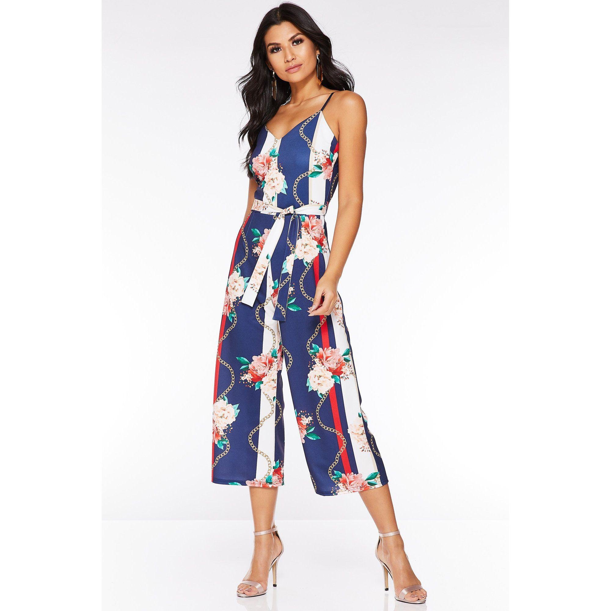 1d8826ba Quiz Navy Cream And Coral Culotte Jumpsuit in Blue - Lyst