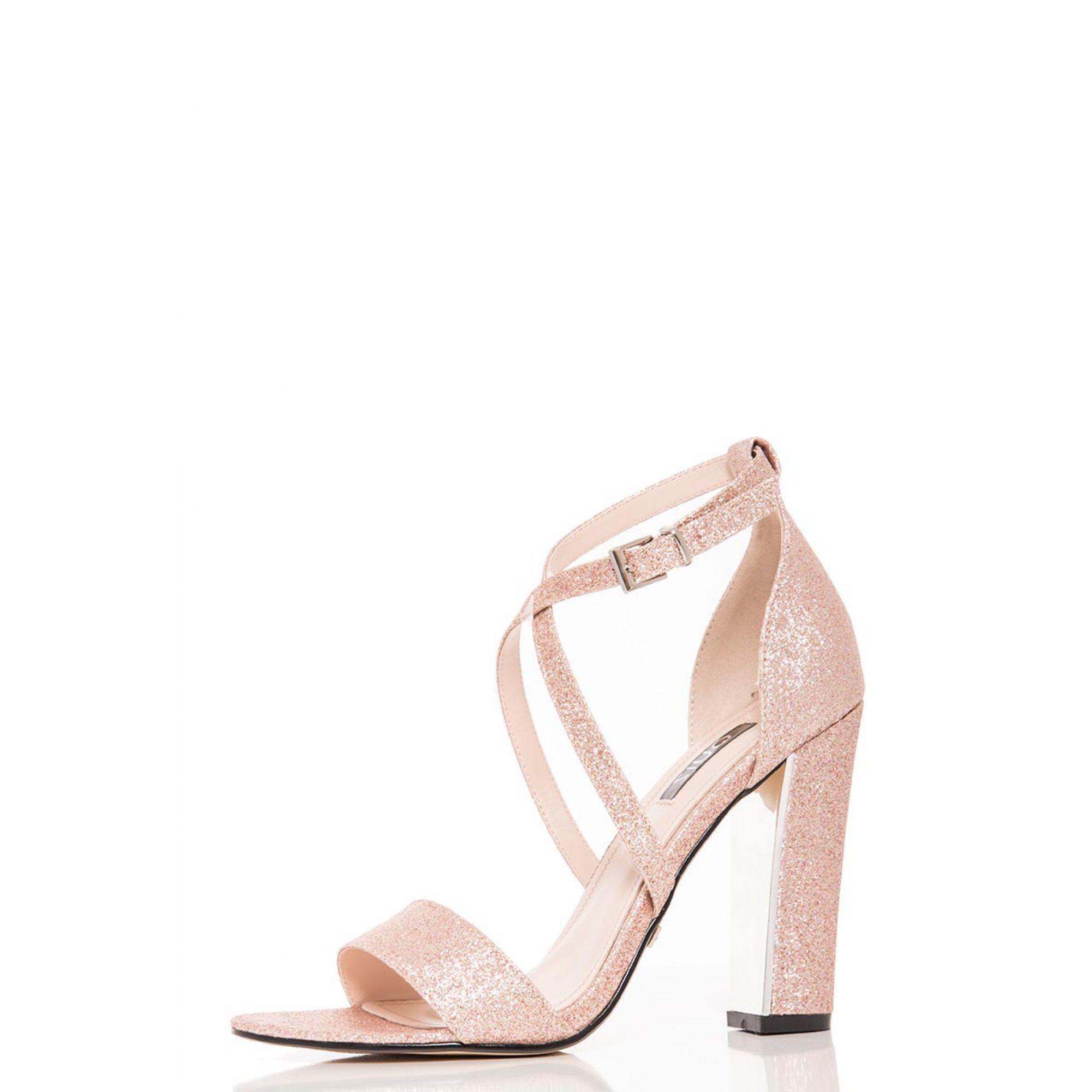 f7a35493b09e Quiz - Metallic Rose Gold Glitter Block Heel Strappy Sandals - Lyst. View  fullscreen