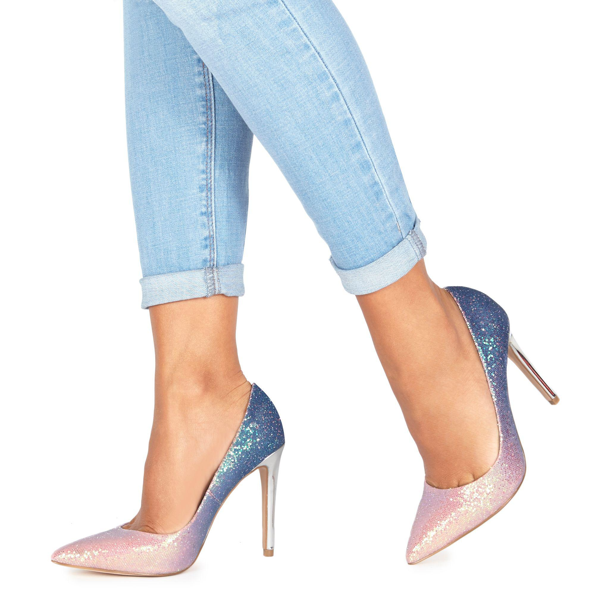 60da78822 Faith. Women s Pink And Blue Glitter  chloe Ombre  High Stiletto Heel  Pointed Shoes