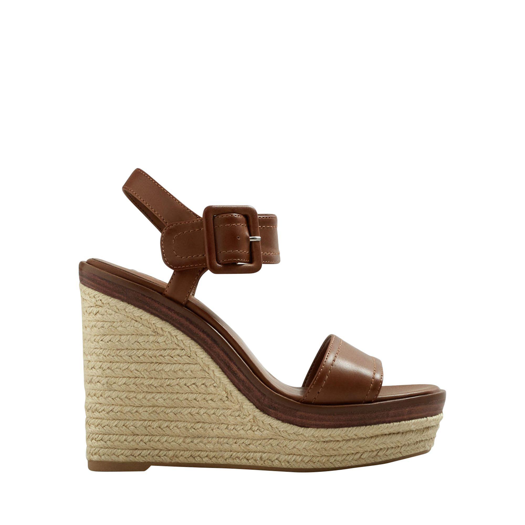 82cabdb35e2 Mango Tan  gome  High Wedge Heel Sandals in Brown - Lyst