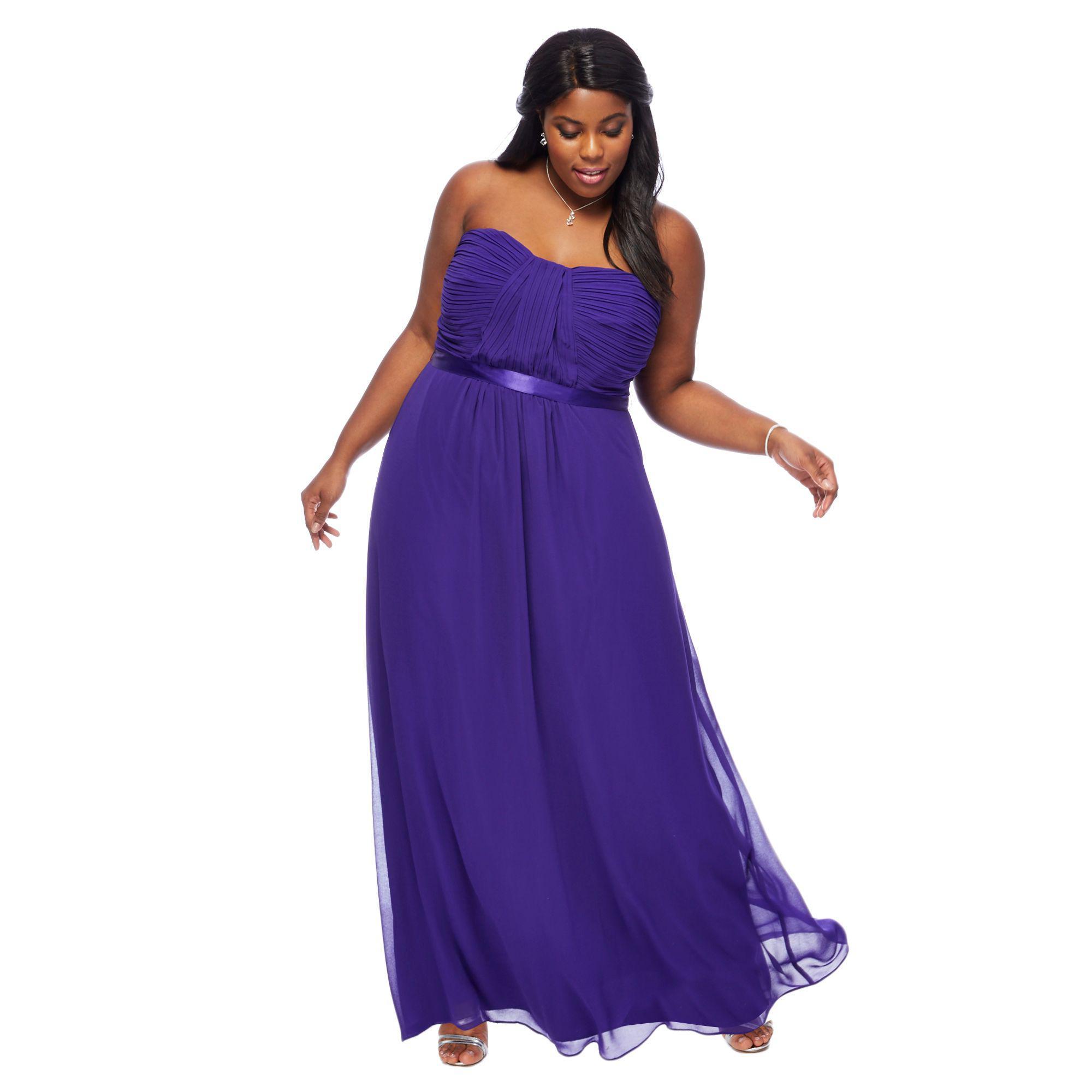 Début Purple \'sophia\' Bandeau Plus Size Bridesmaid Dress in Purple ...