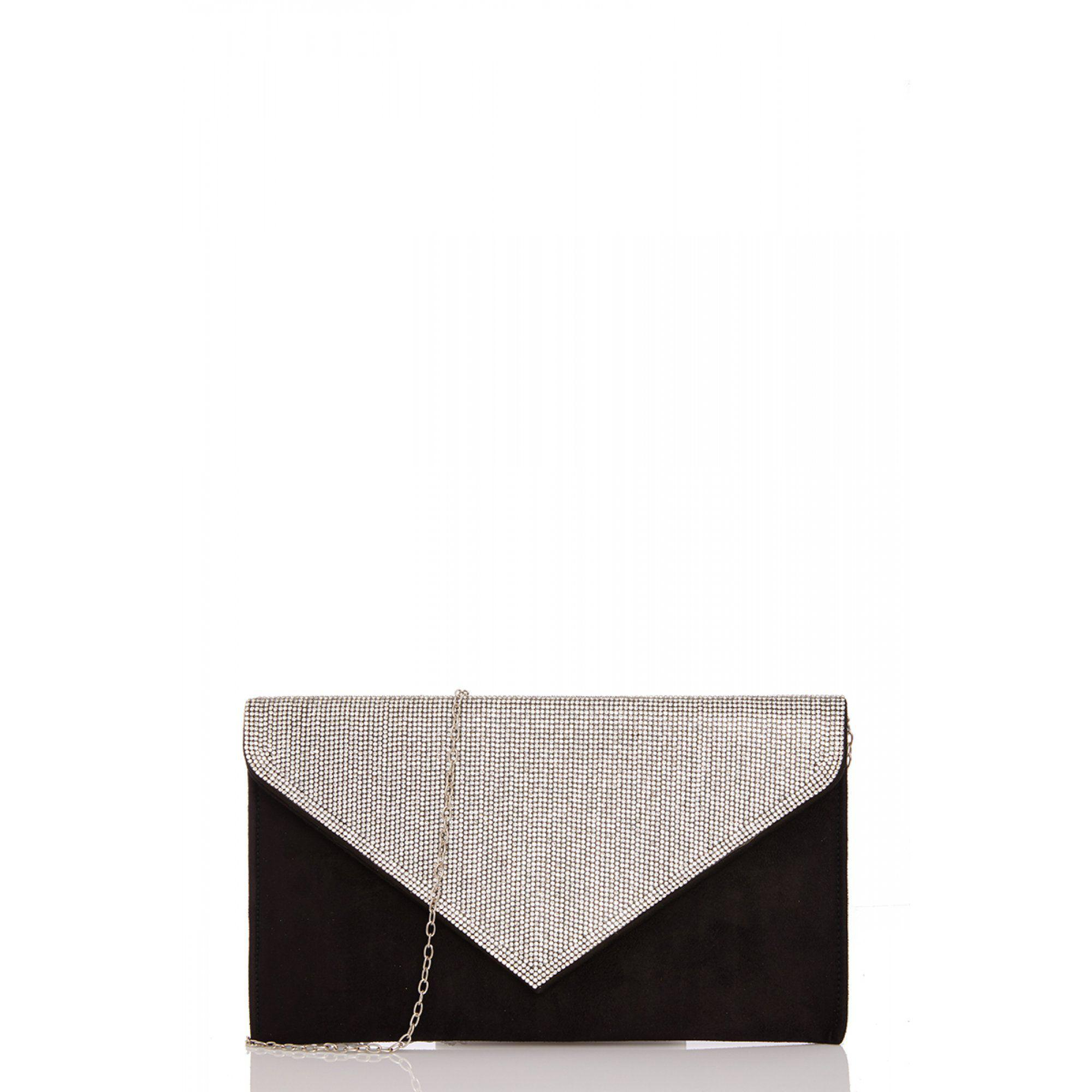 53a9f3b8841a8 Quiz - Black Faux Suede Diamante Envelope Bag - Lyst. View fullscreen