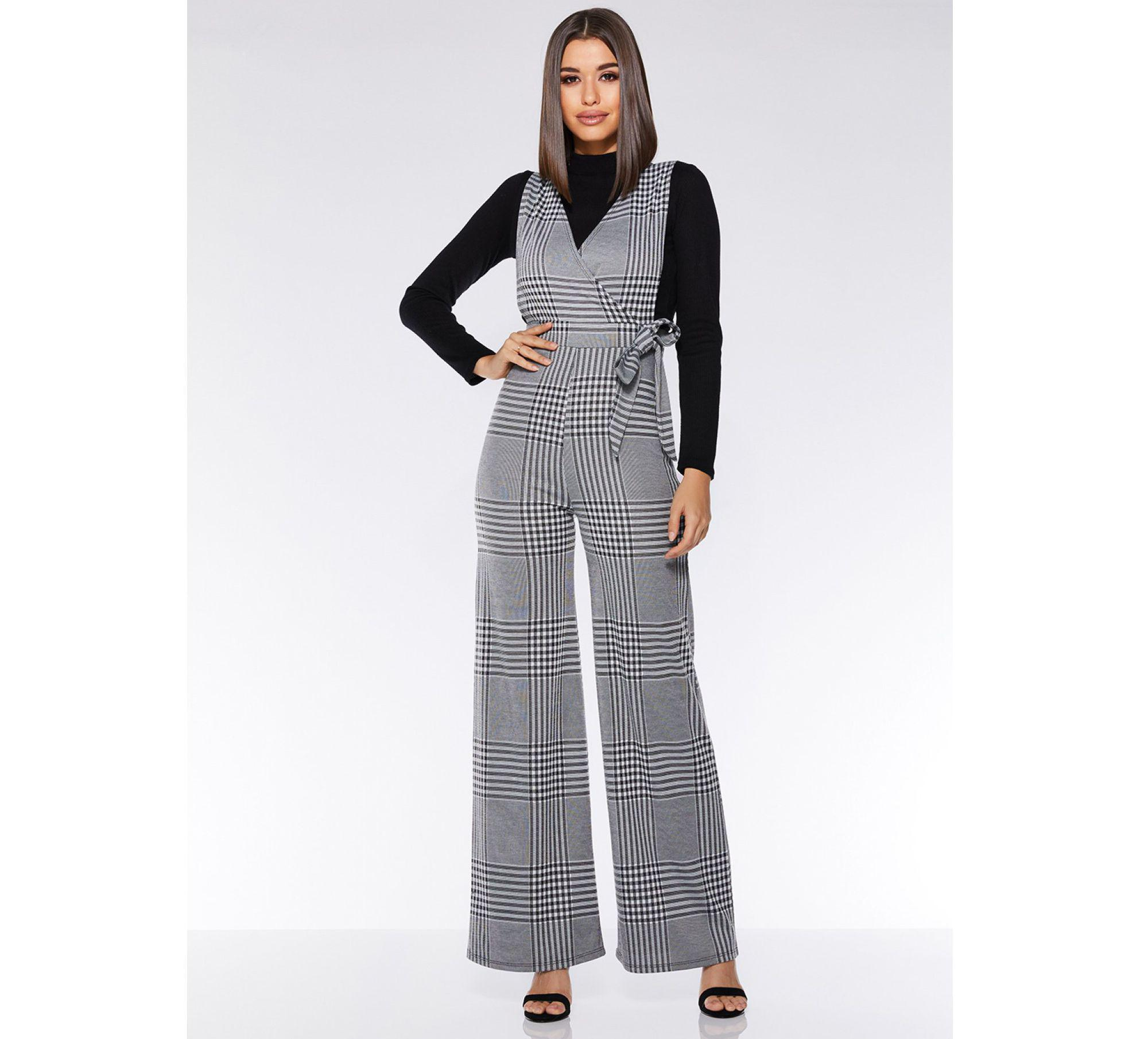 ca268a83871 Quiz Grey And Black Check Tie Belt Jumpsuit in Gray - Lyst