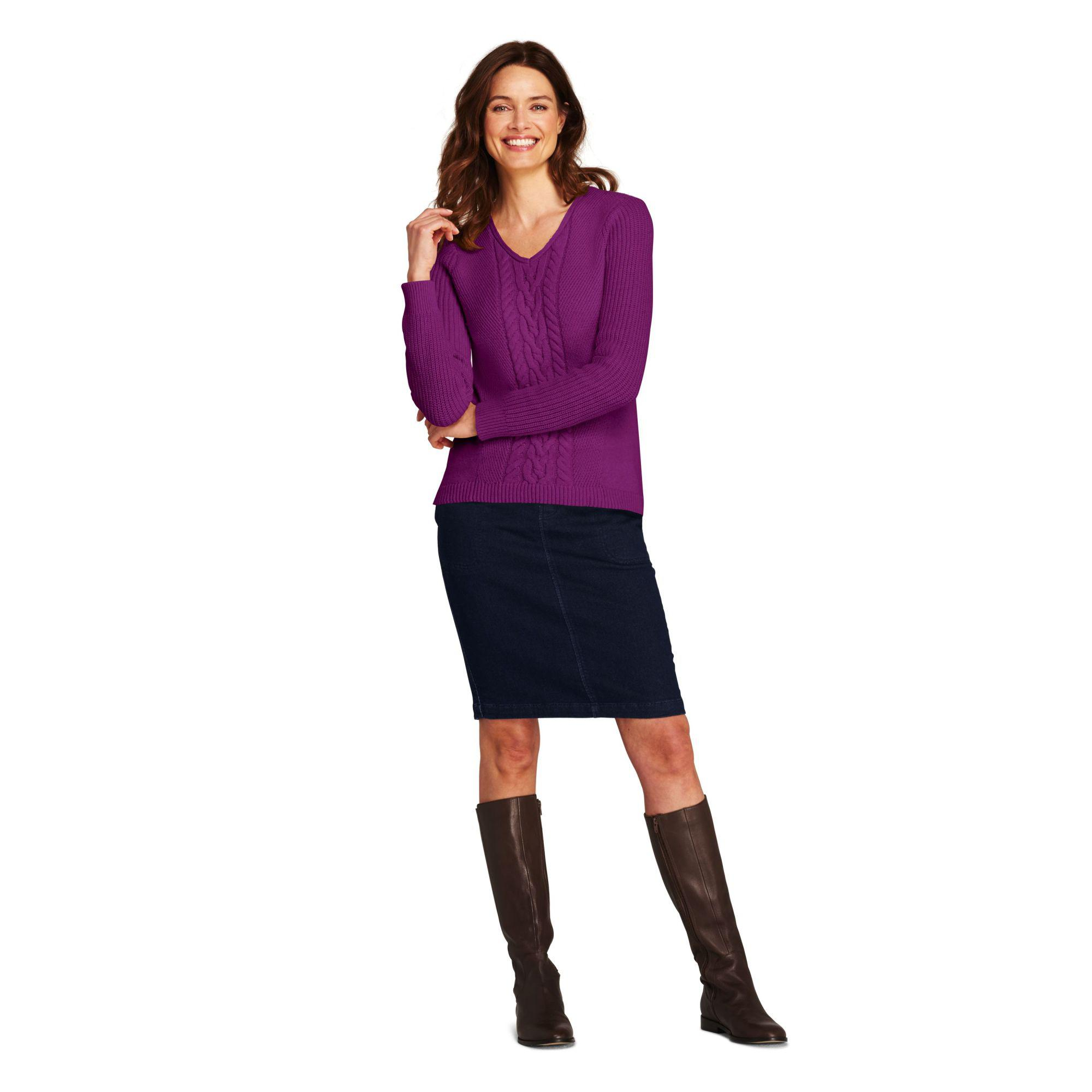 ad596748948 Lands' End Purple Petite Cable V-neck Jumper in Purple - Lyst
