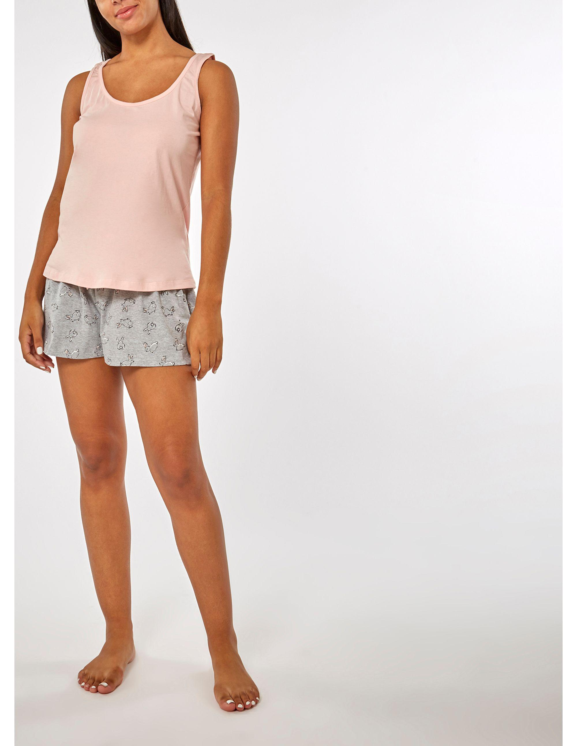 fdbde9c55d Dorothy Perkins Grey And Pink Bunny Short Pyjama Set In A Bag - Lyst