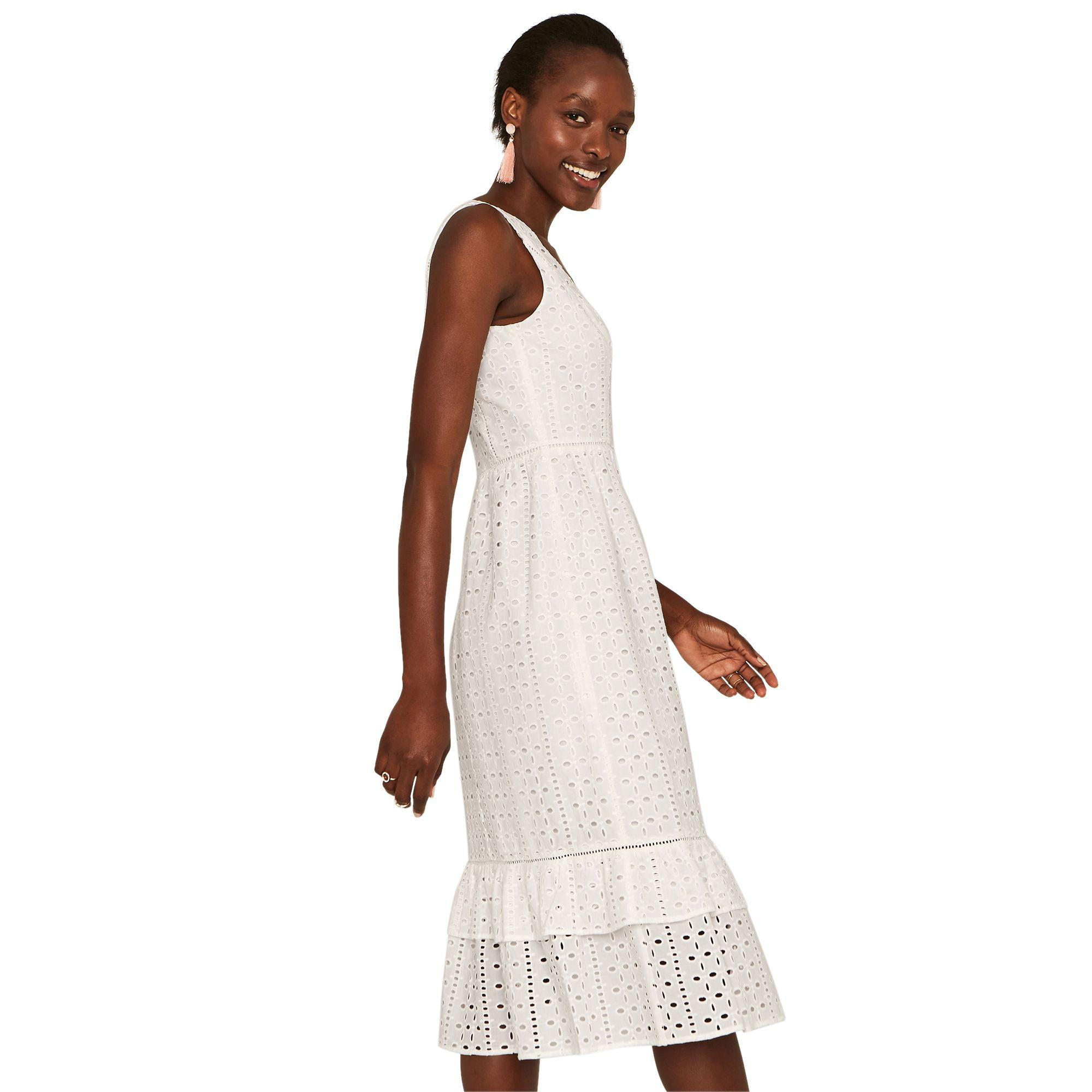 b81a860fd3 Oasis Off White Broiderie Peplum Midi Dress in White - Save 21% - Lyst