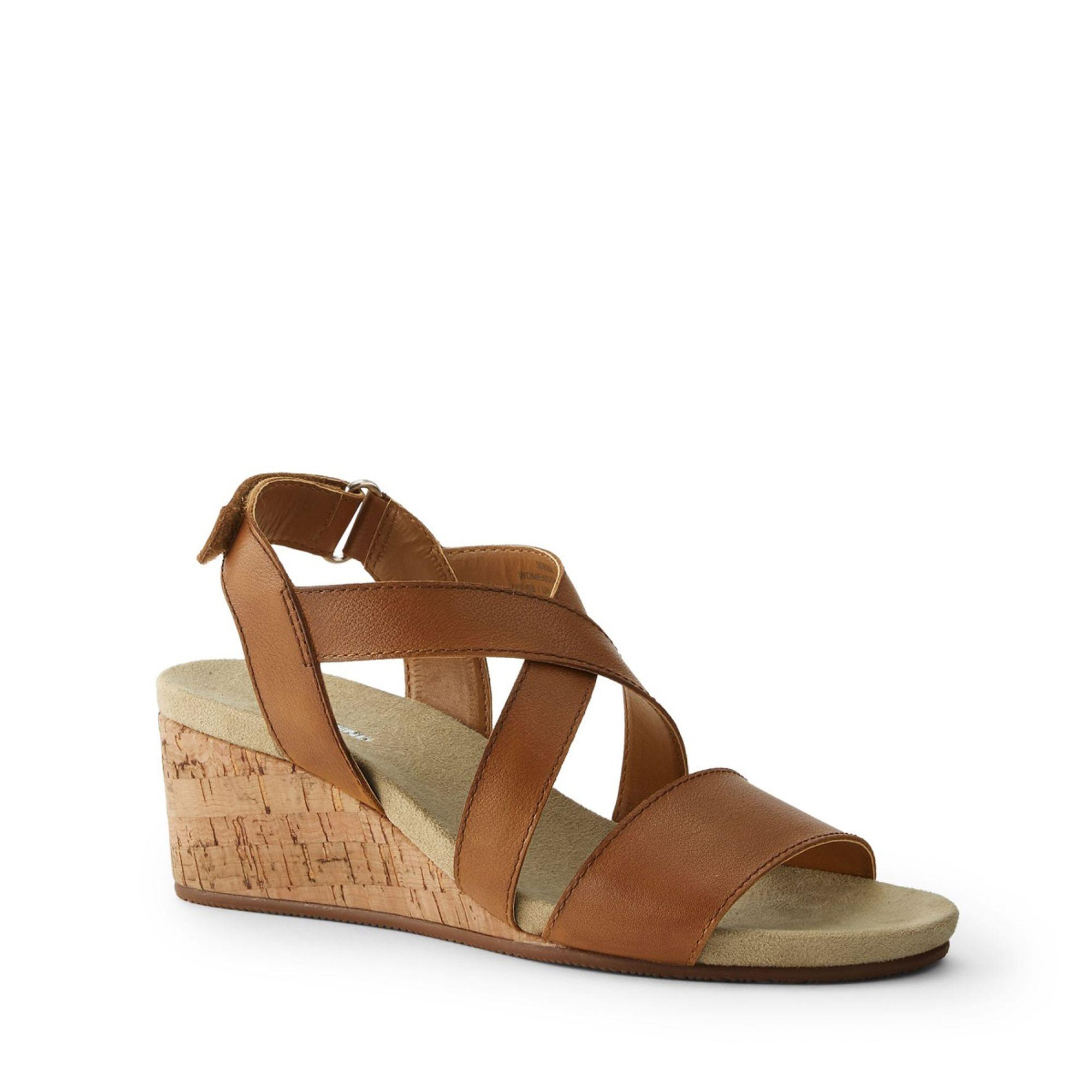 8516f4a2a16e Lands  End Tan Leather Cork Wedge Sandals in Brown - Lyst