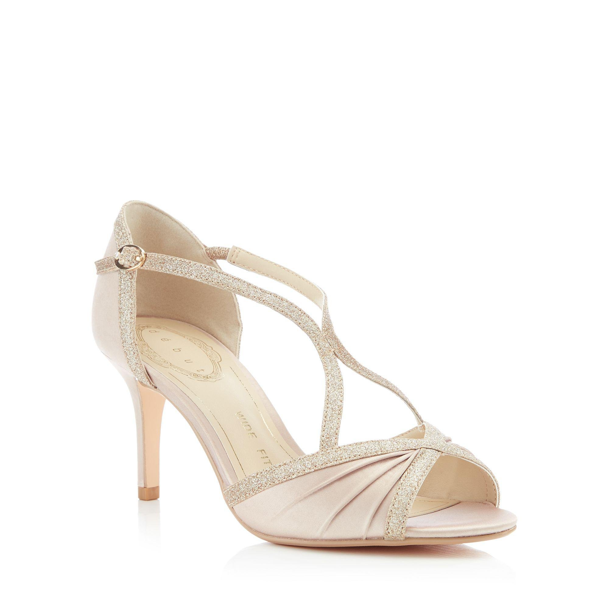 42f49849f1a Début Gold Satin  dancer  High Heel Wide Fit Ankle Strap Sandals in ...