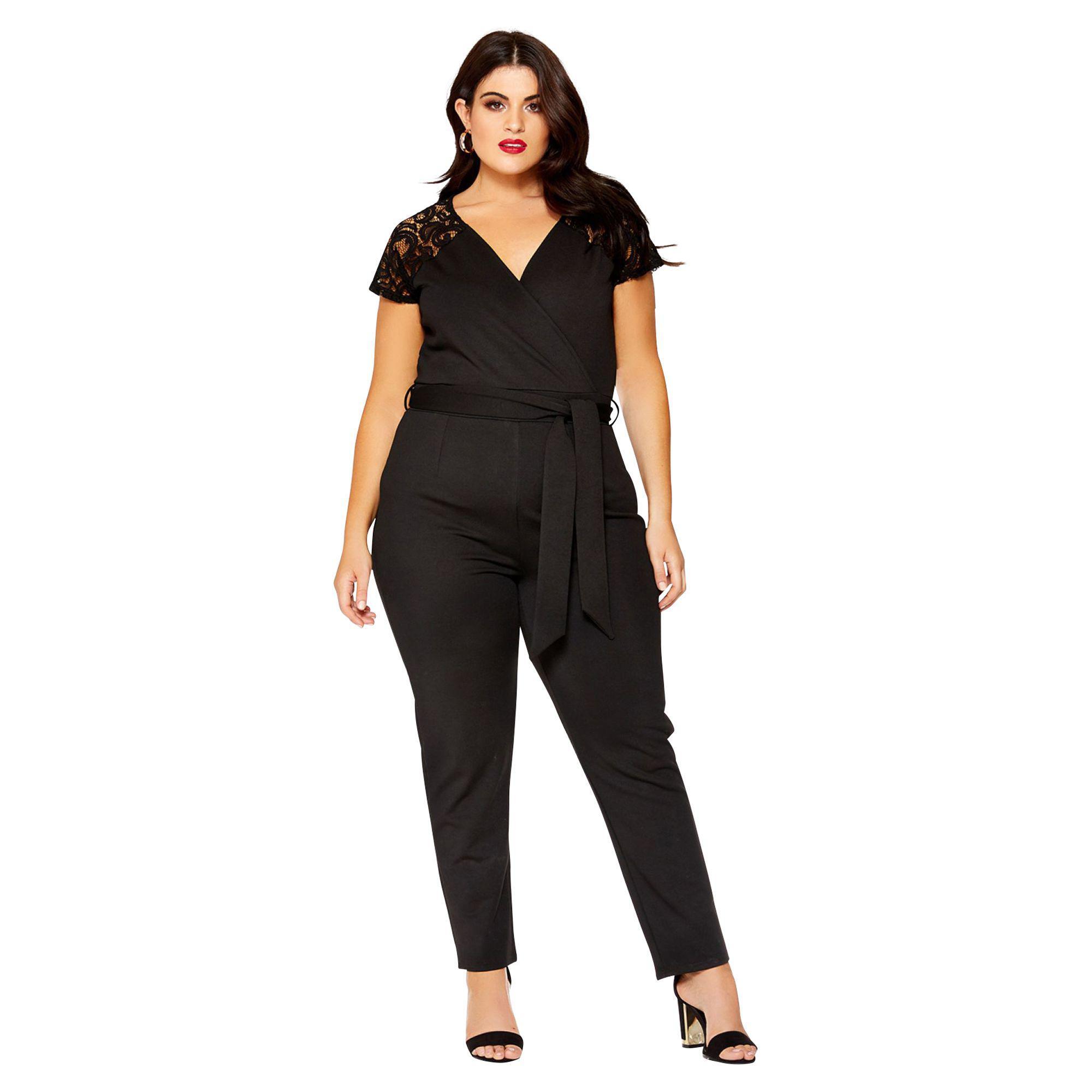 e30d07a33fcc Quiz Curve Black Lace Cap Sleeve Jumpsuit in Black - Lyst
