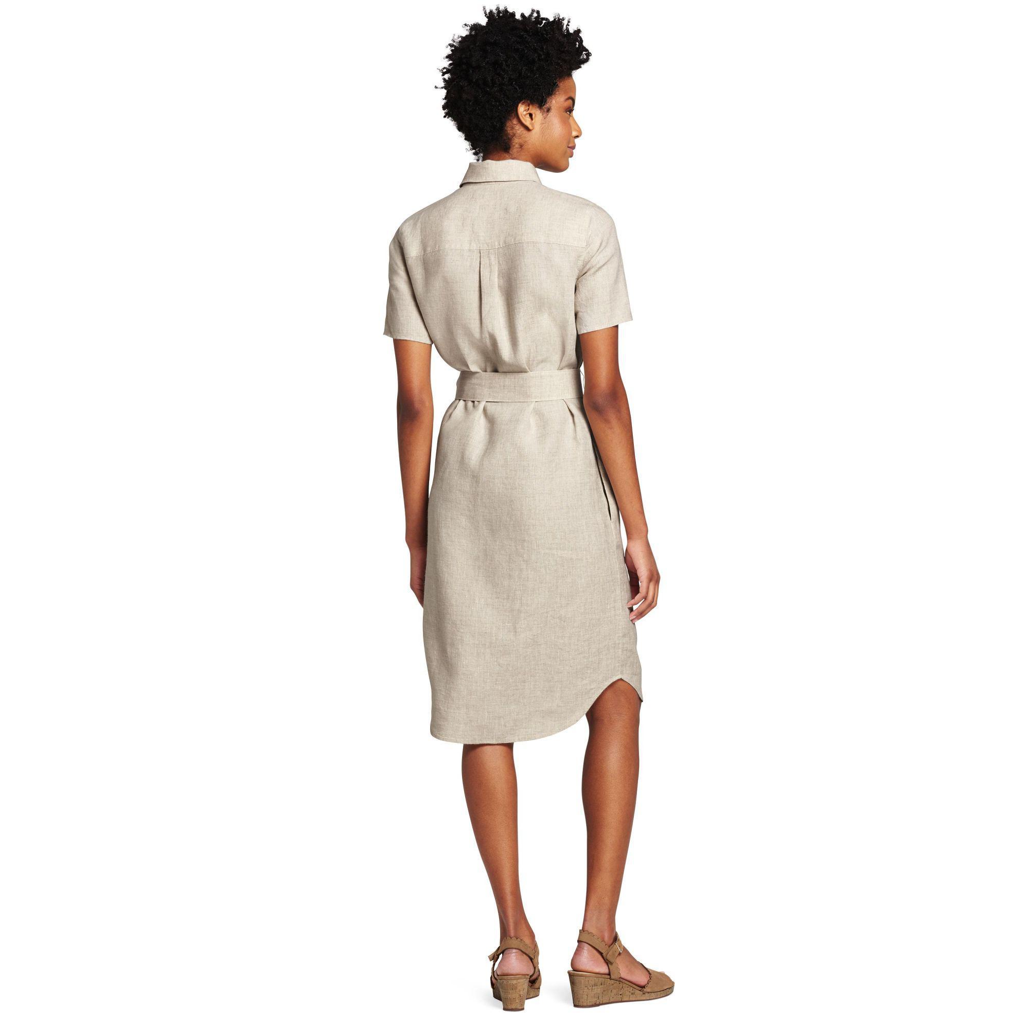 524c63d4488 Lands  End - Natural Beige Womens Utility Linen Shirt Dress - Lyst. View  fullscreen