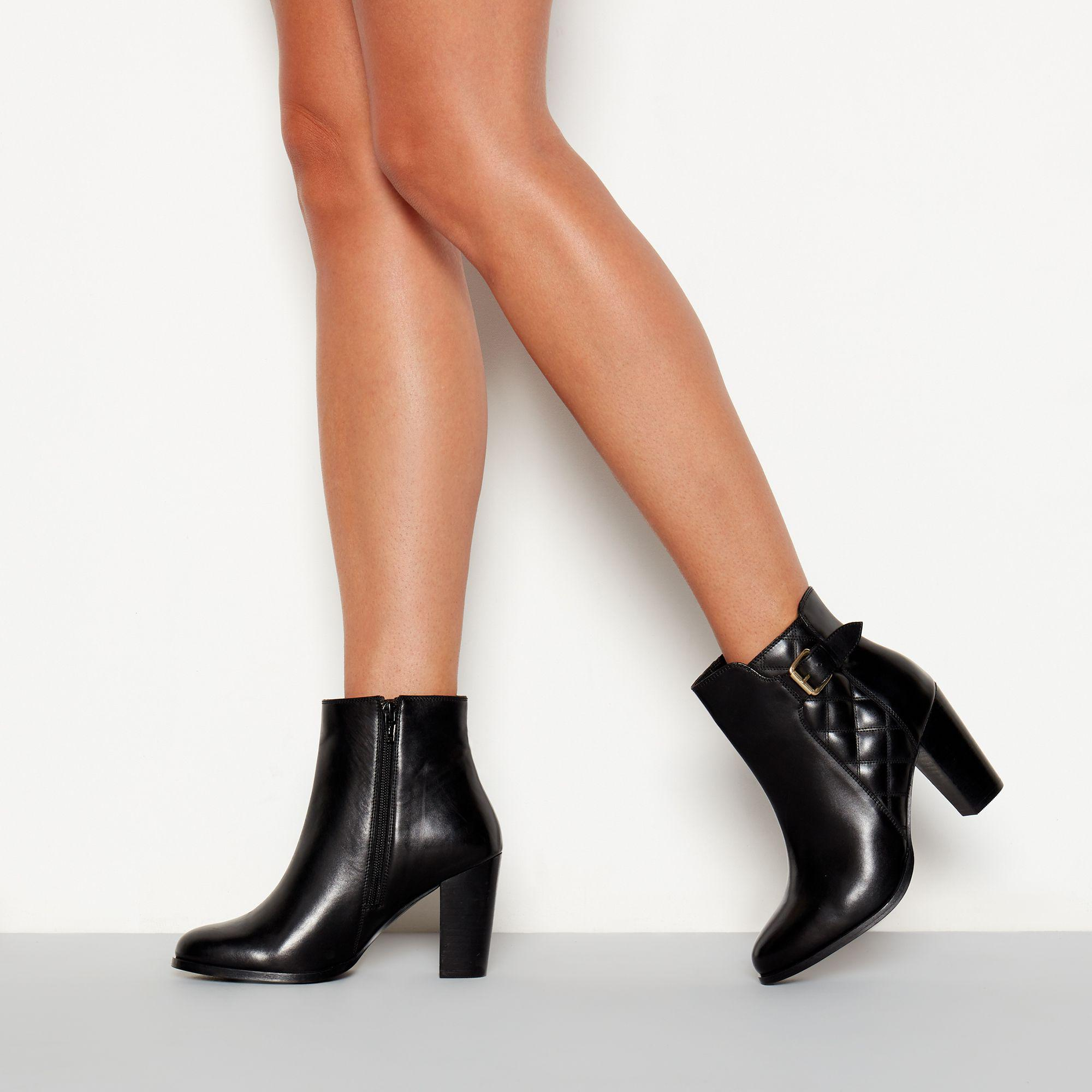 5b5f505871 Faith Black Quilted Leather 'brooksie' High Block Heel Ankle Boots ...