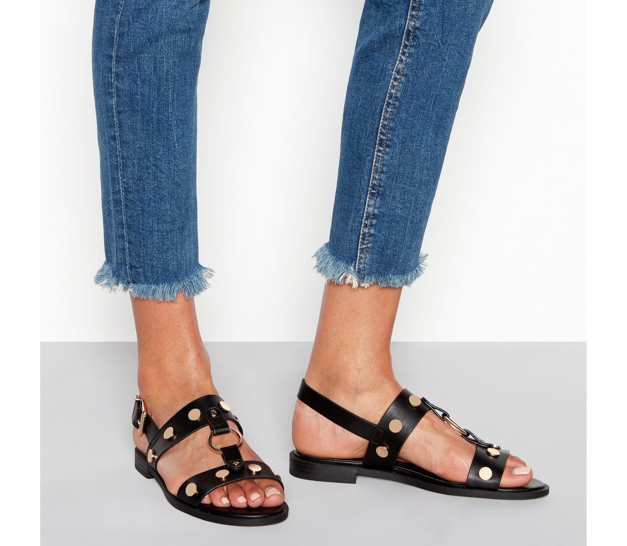 6f5228abe31 Faith Black Studded Slingback Gladiator Sandals in Black - Lyst