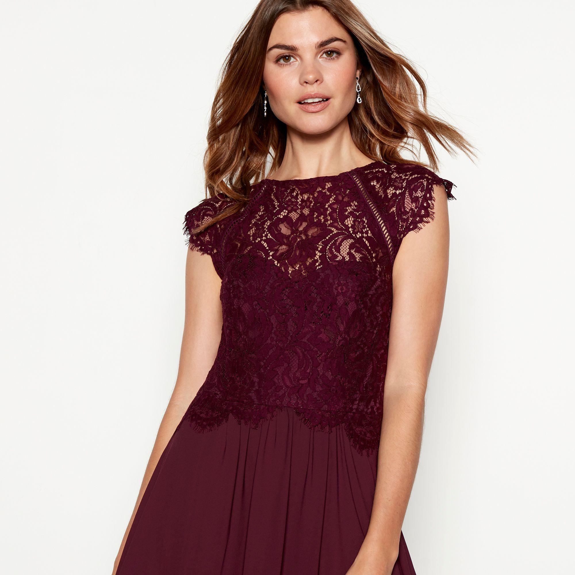 d8e45e8f6e1 Début - Dark Purple Chiffon Lace  olivia  High Neck Full Length Dress -  Lyst. View fullscreen