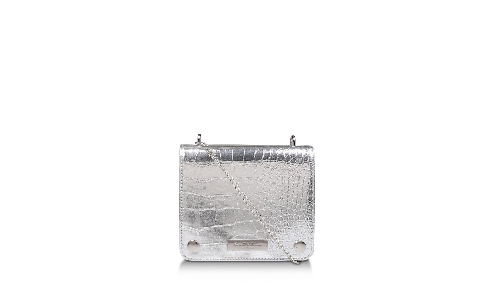 Carvela Kurt Geiger. Women s Metallic Silver  rhonda Evening Box Bag  ... 8e04546151a3b