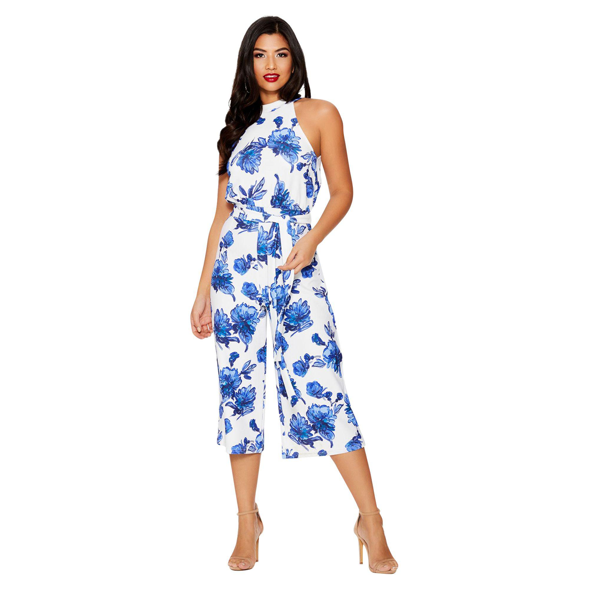 e62f19f61f6 Quiz Blue And White Floral Print Jumpsuit in Blue - Lyst