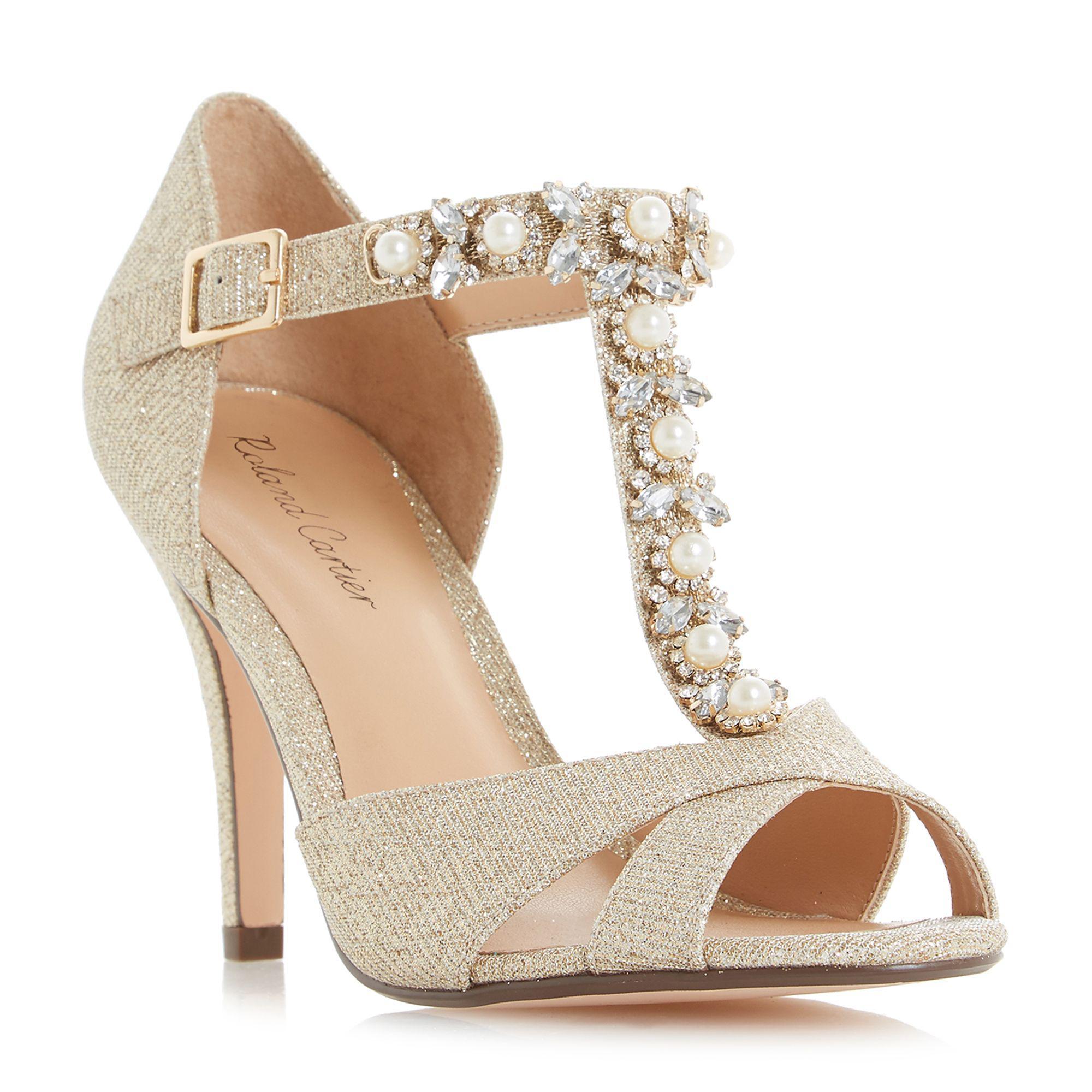 5fe071b1d52 Roland Cartier Gold Glitter Maddalyn High Stiletto Heel Court
