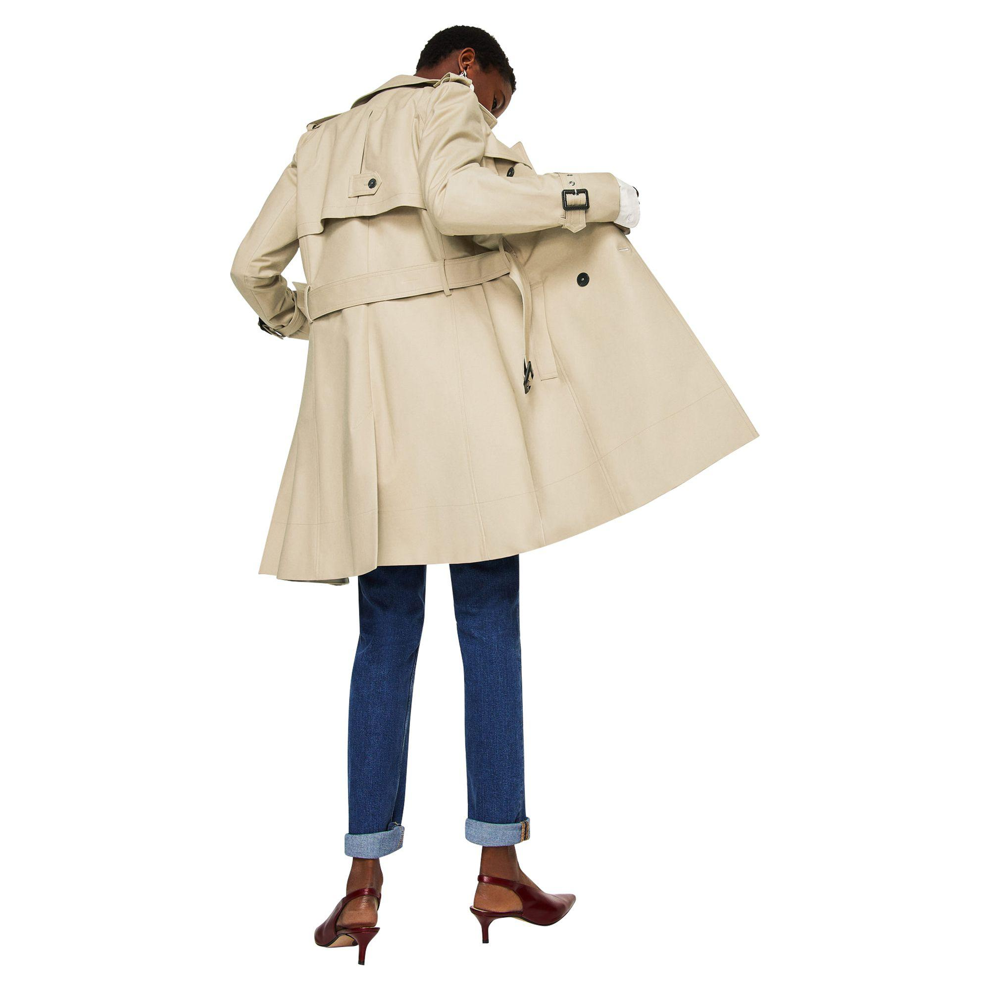 Camel In 'polana' Coat Breasted Trench Lyst Double Mango Natural qPx1Zdq