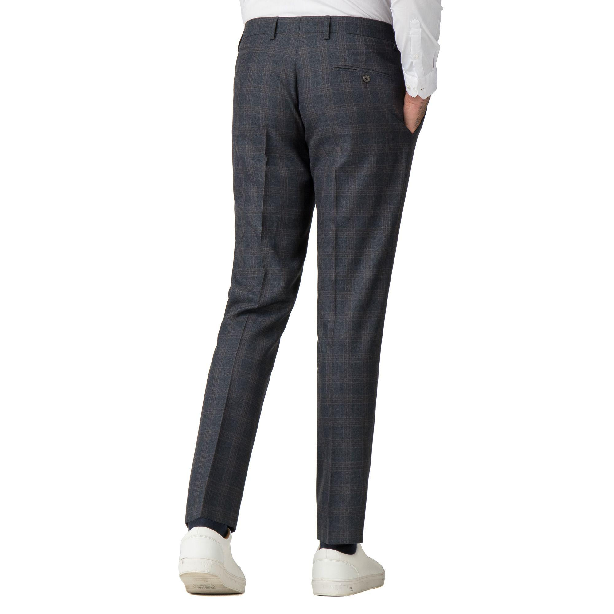 9ea911a97bc6 Red Herring - Blue Navy Rust Overcheck Skinny Fit Suit Trousers for Men -  Lyst. View fullscreen