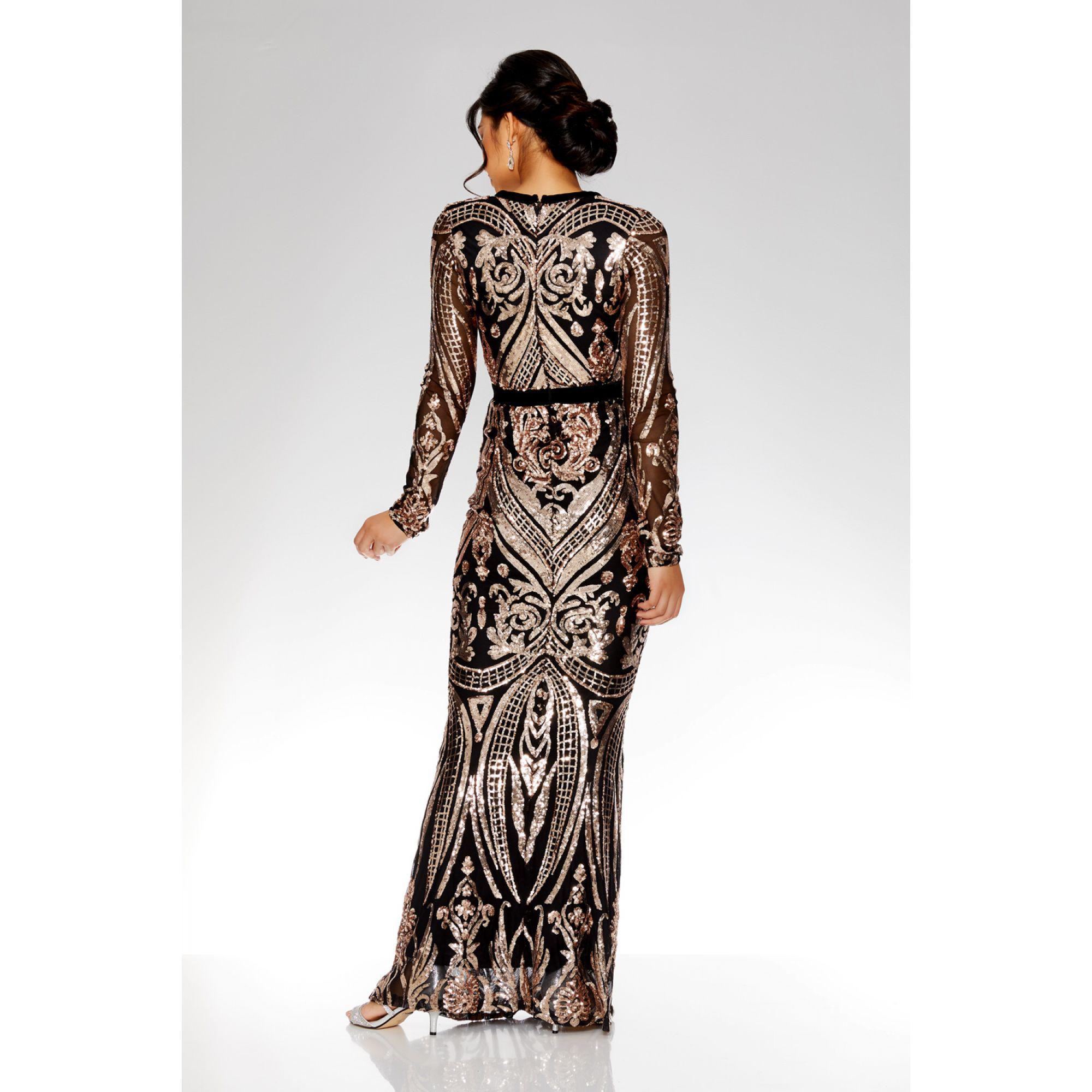 fe3a6930 Quiz Black And Rose Gold Sequin Bardot Maxi Dress