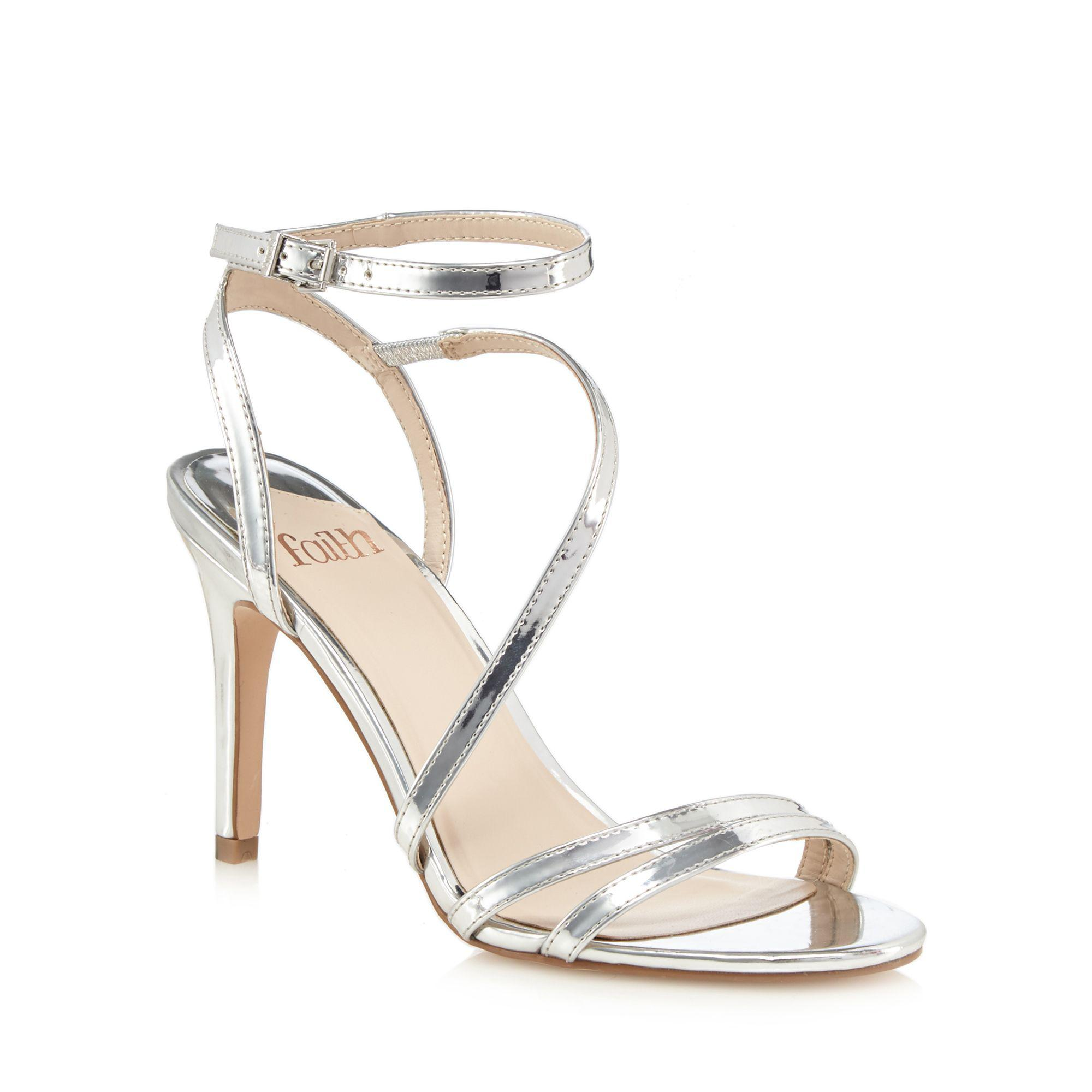 a717b6d9b Faith - Metallic Silver  delly  High Stiletto Heel Ankle Strap Sandals -  Lyst. View fullscreen