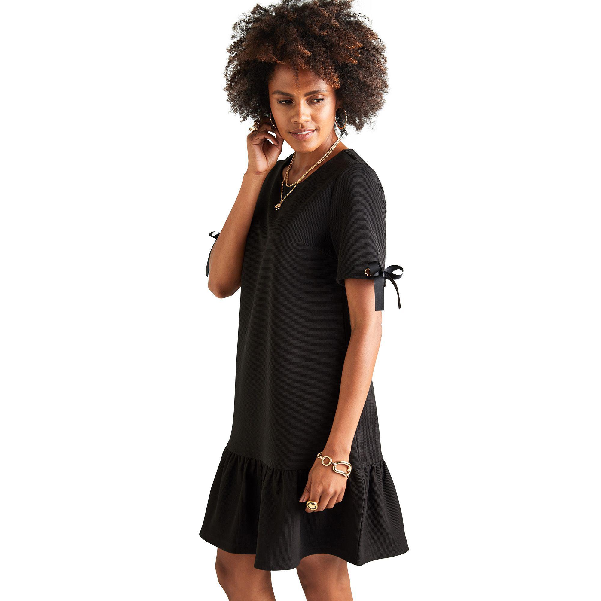 47627e5f6f6 Yumi  Black Ribbed Ponte  arliss  Tunic Dress in Black - Lyst
