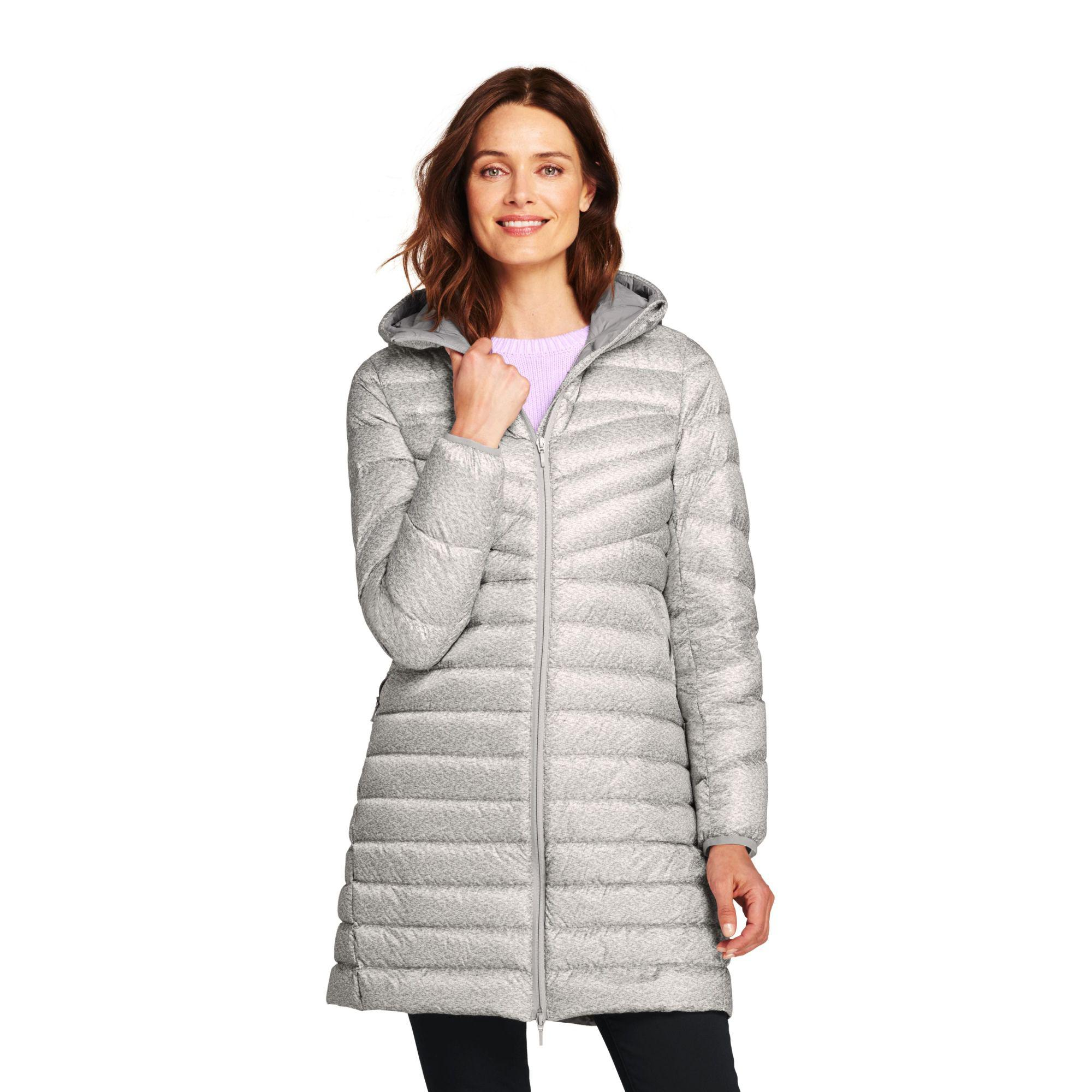 35de654eeb7e Lands  End. Women s Gray Grey Petite Patterned Ultra Light Packable Down  Coat