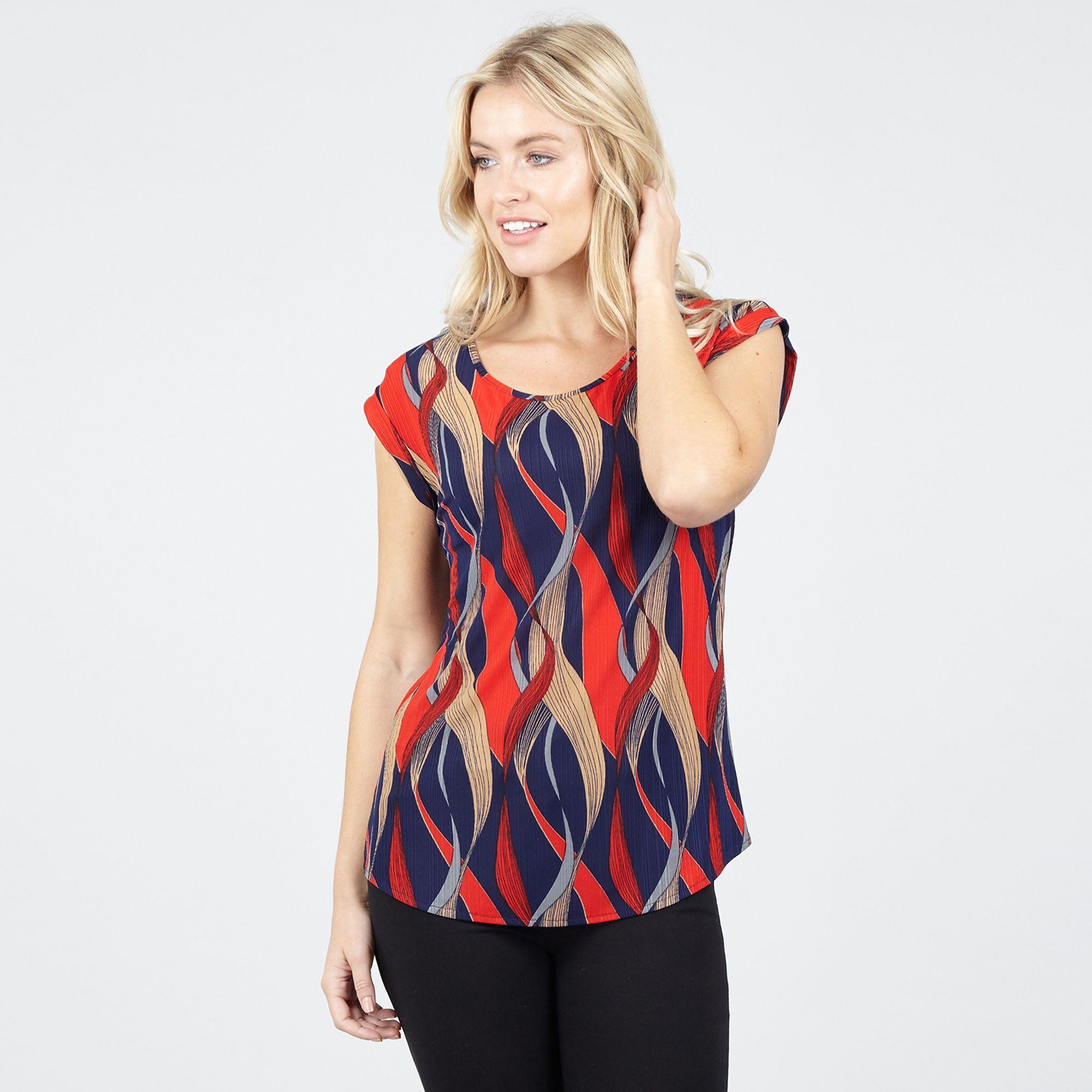a0423f77494f3 Izabel London. Women s Multicoloured Print Turn Up Sleeve Top