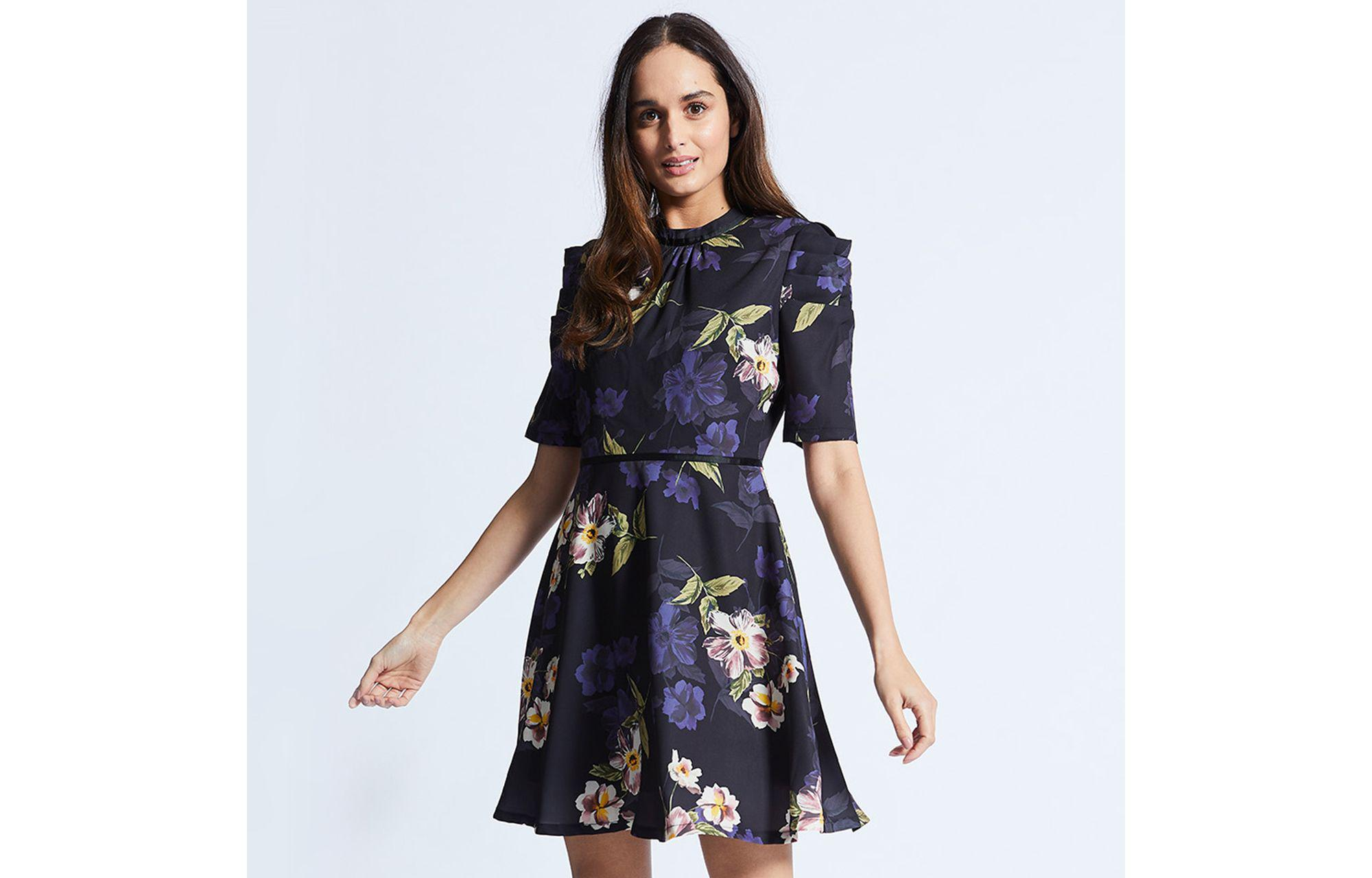 a00a1b6ccd7e Angeleye Navy Floral Dress With Ruffles Half Sleeves in Blue - Lyst