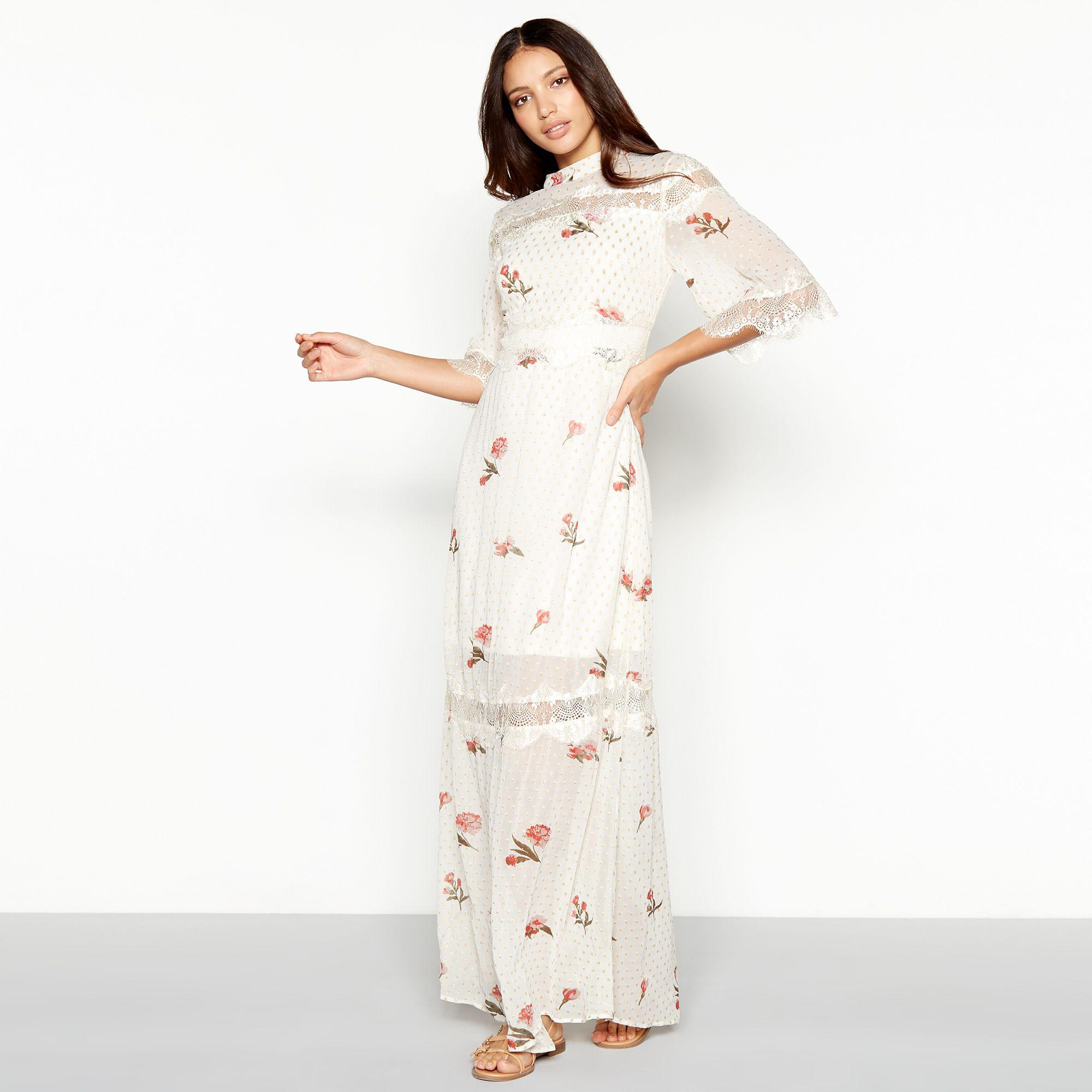 24ec1ad5316f White Chiffon Floral Print Dress | Saddha