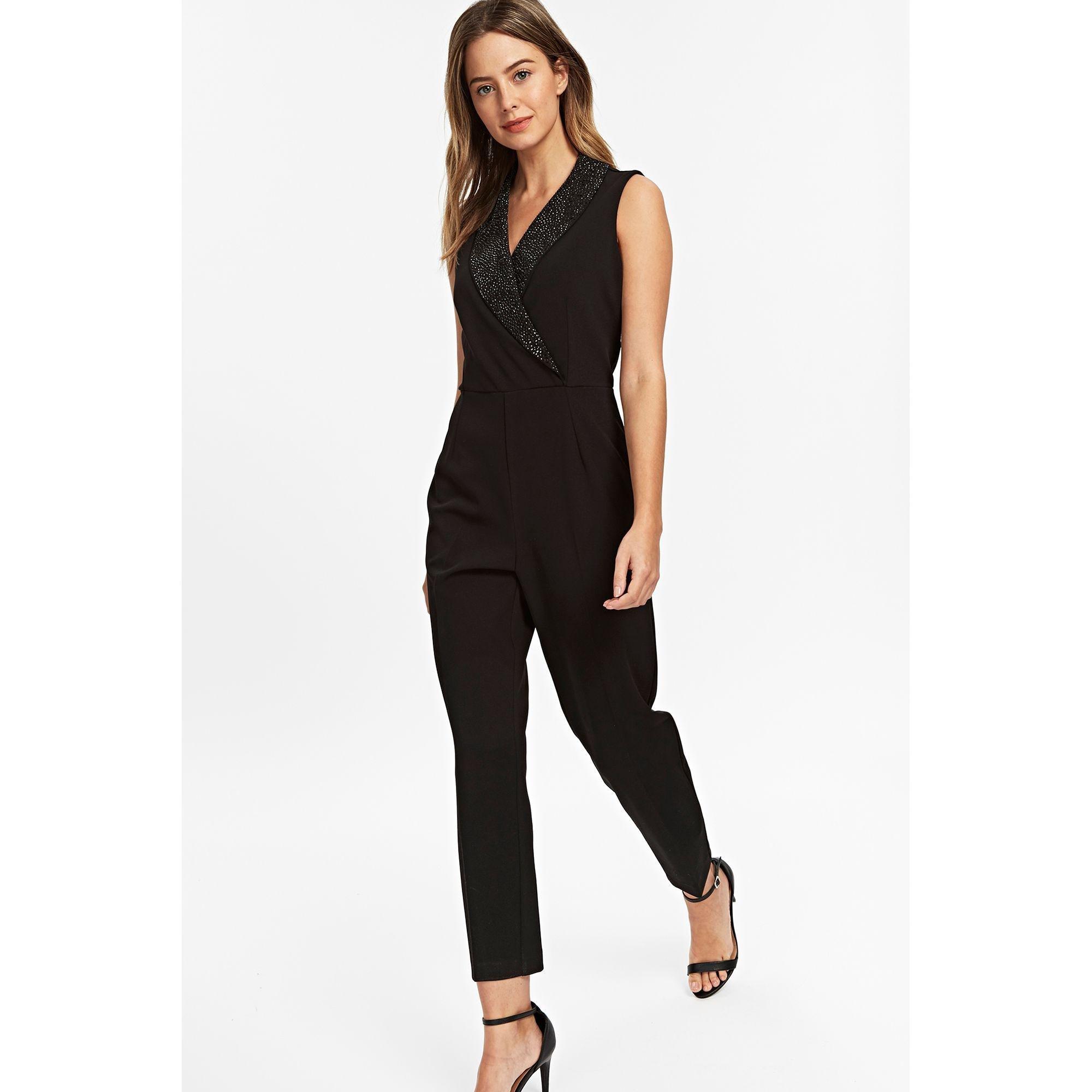 58d58b884485 Wallis Petite Black Diamante Tuxedo Jumpsuit in Black - Save 50% - Lyst