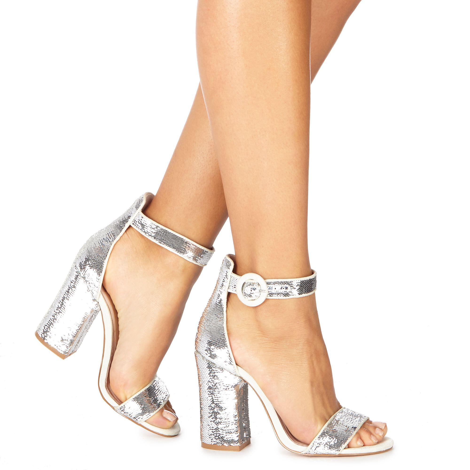 ca6a755c2cd0 Faith Silver  danielle  High Block Heel Ankle Strap Sandals in ...