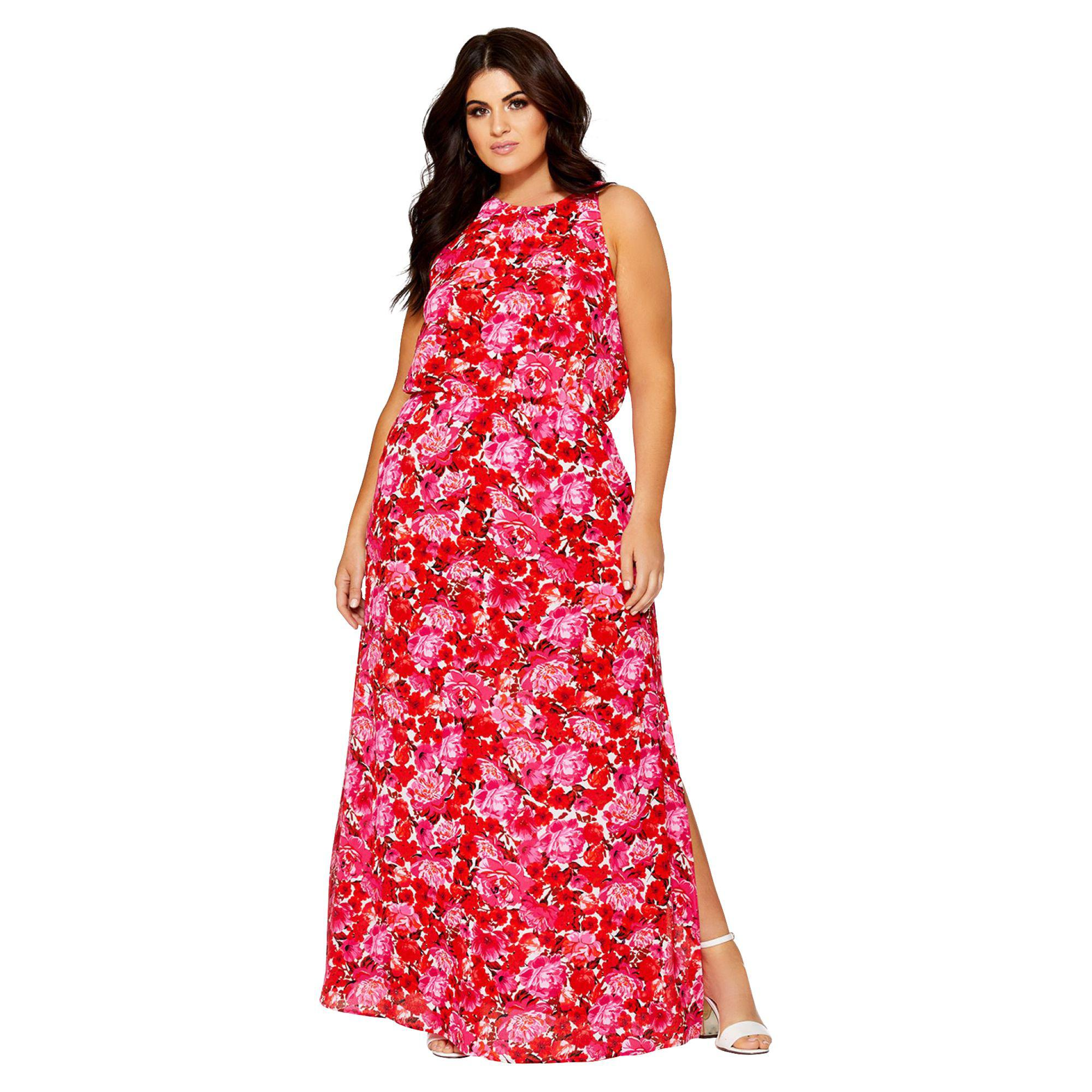 389bbaa92c Quiz Curve Pink And Red Floral High Neck Chiffon Maxi Dress in Pink ...