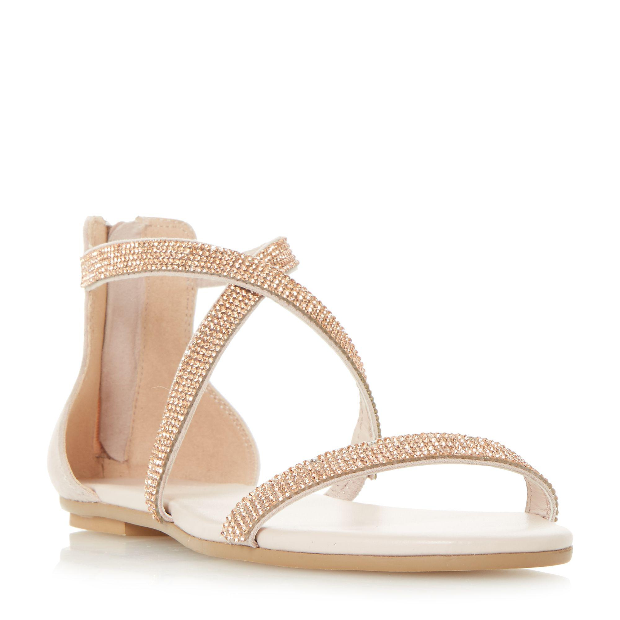 e981de5622a6f9 Dune Light Gold  niftey  Cross Strap Flat Sandals in Metallic - Lyst