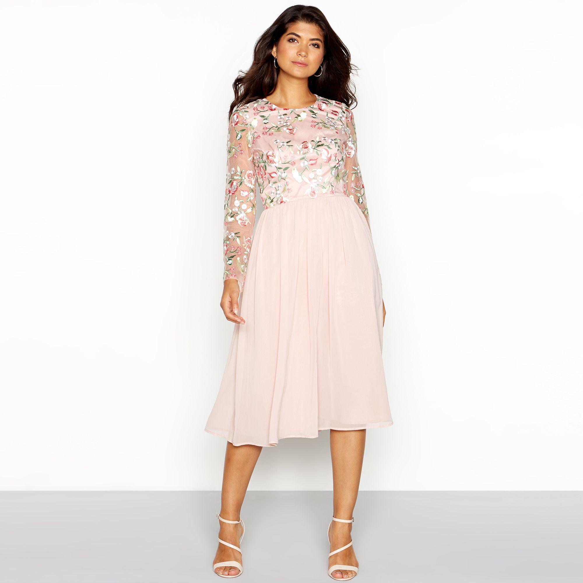 e1bbe93e981 Chi Chi London. Women s Pale Pink Floral Embroidered Chiffon  bee  Round  Neck Long Sleeve Midi Dress