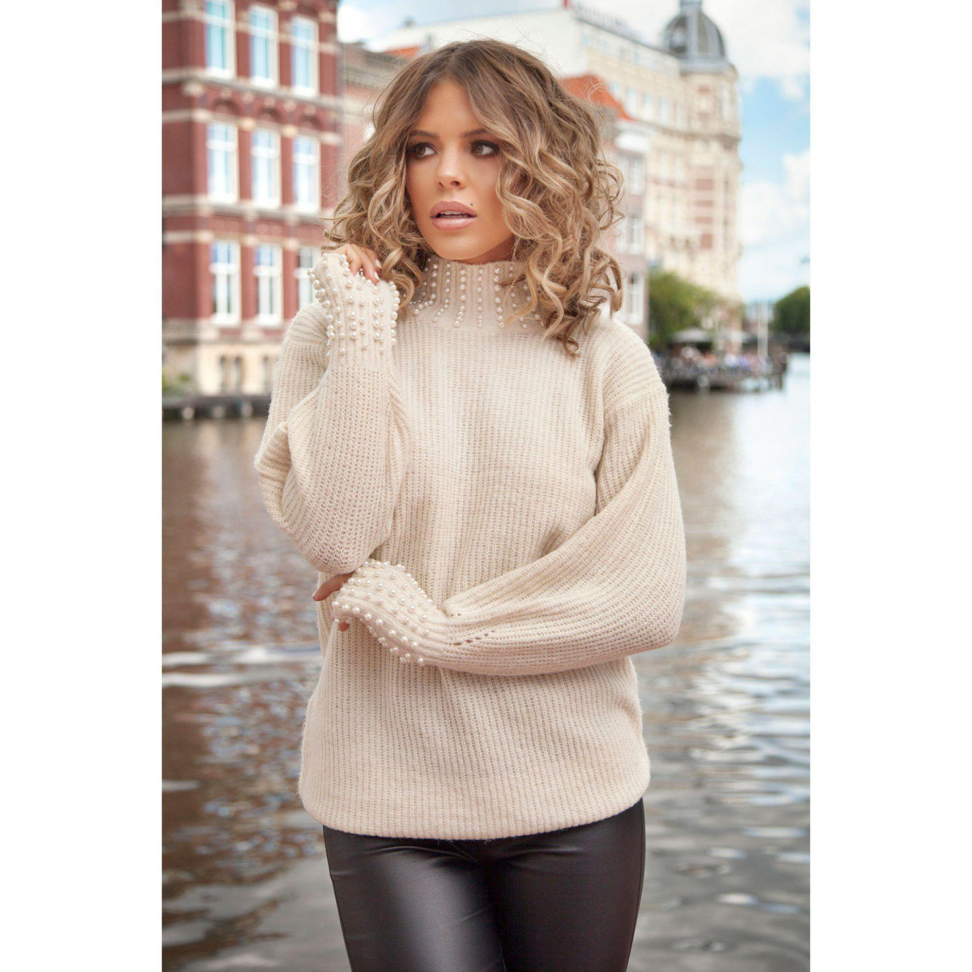 9f0eba671 Quiz Towie Cream Knit Pearl Jumper in Natural - Lyst