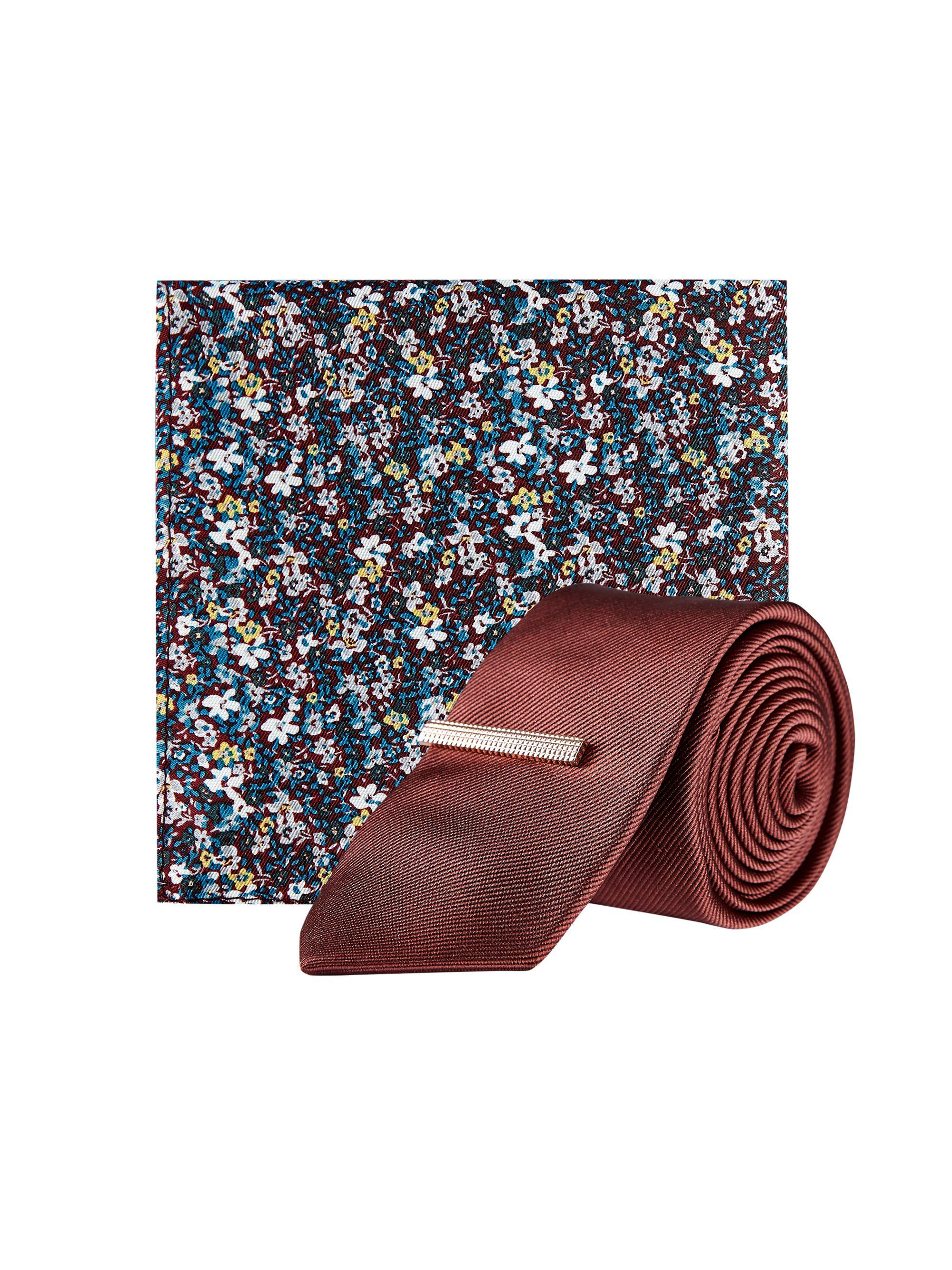 a430c83d4b9b Burton. Men's Red Burgundy Tie With Clip And Ditsy Floral Pocket Square Set