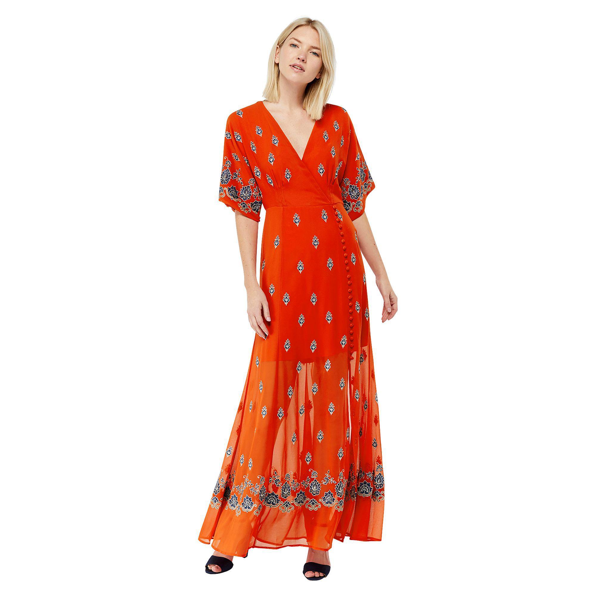 5dfe7fdb47a Monsoon Orange  ziggy  Embroidered Maxi Dress in Orange - Lyst
