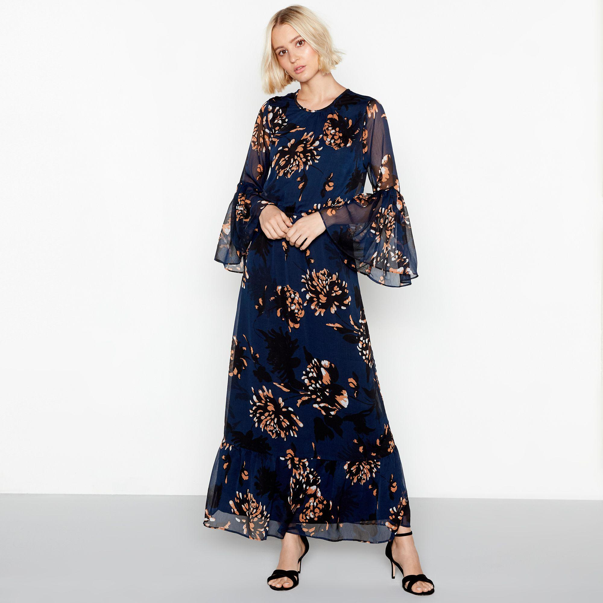 b4fadf1c8952 Y.A.S. Women s Dark Blue Floral Print Chiffon Round Neck Long Sleeves Maxi  Dress