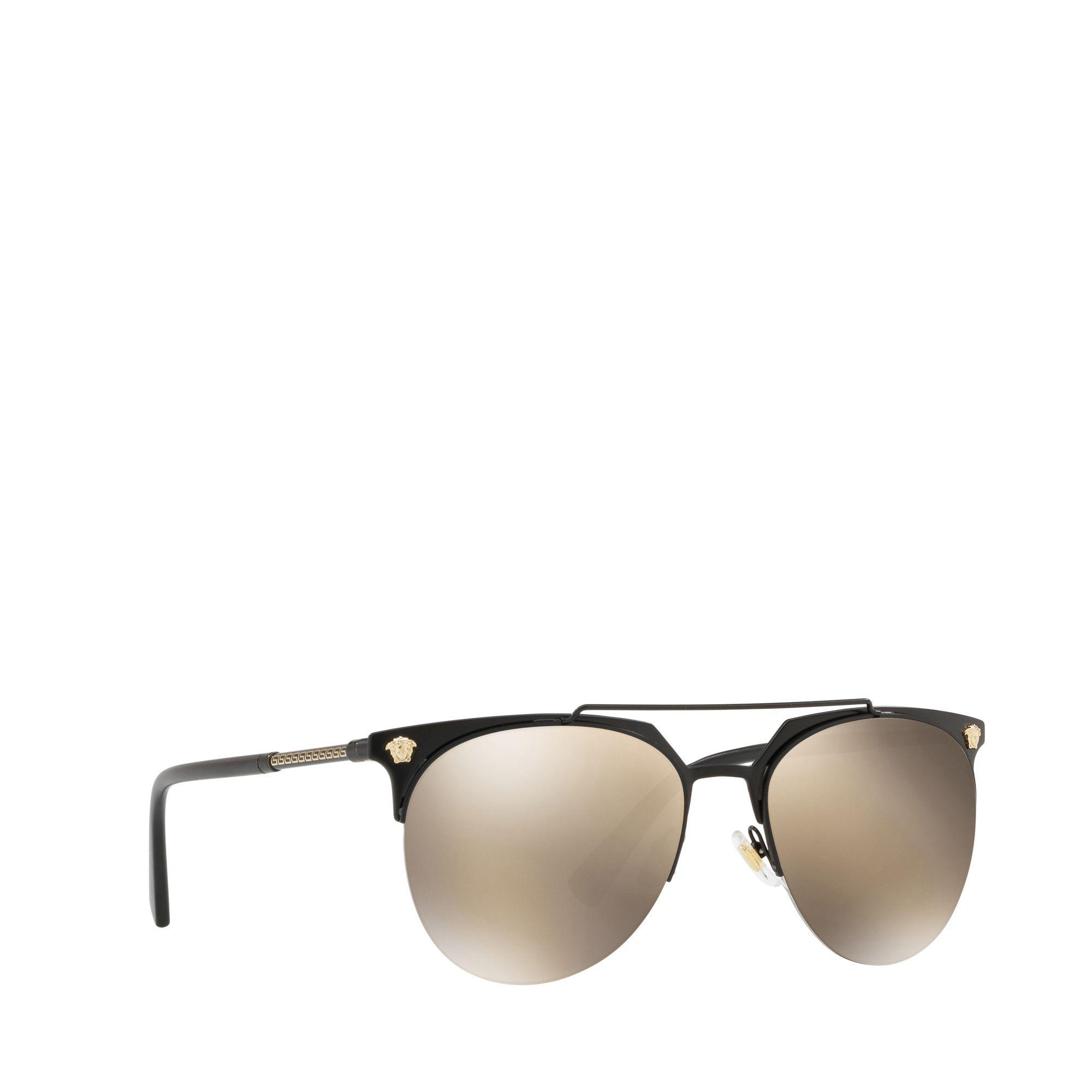 b22e3e9f325f Versace Shiny Rose Gold Metal Pilot Sunglasses in Black for Men - Lyst