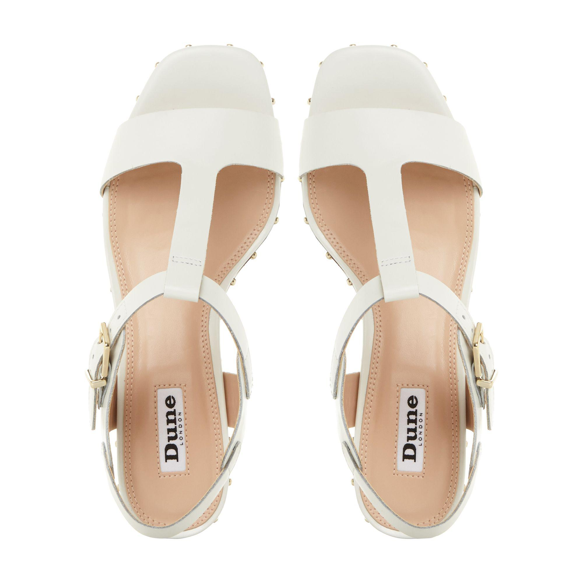 7c52af134497 Dune White Leather  isadora  Mid Block Heel T-bar Sandals in White ...
