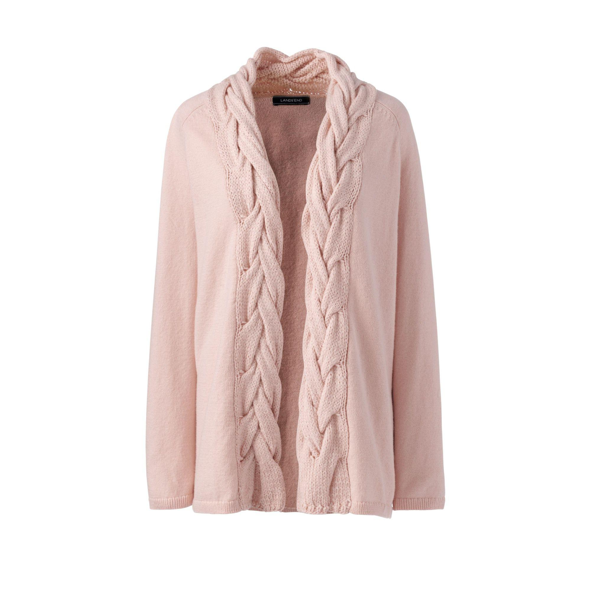 d097ad272024 Lands  End Pink Soft Leisure Cable Placket Cardigan in Pink - Lyst