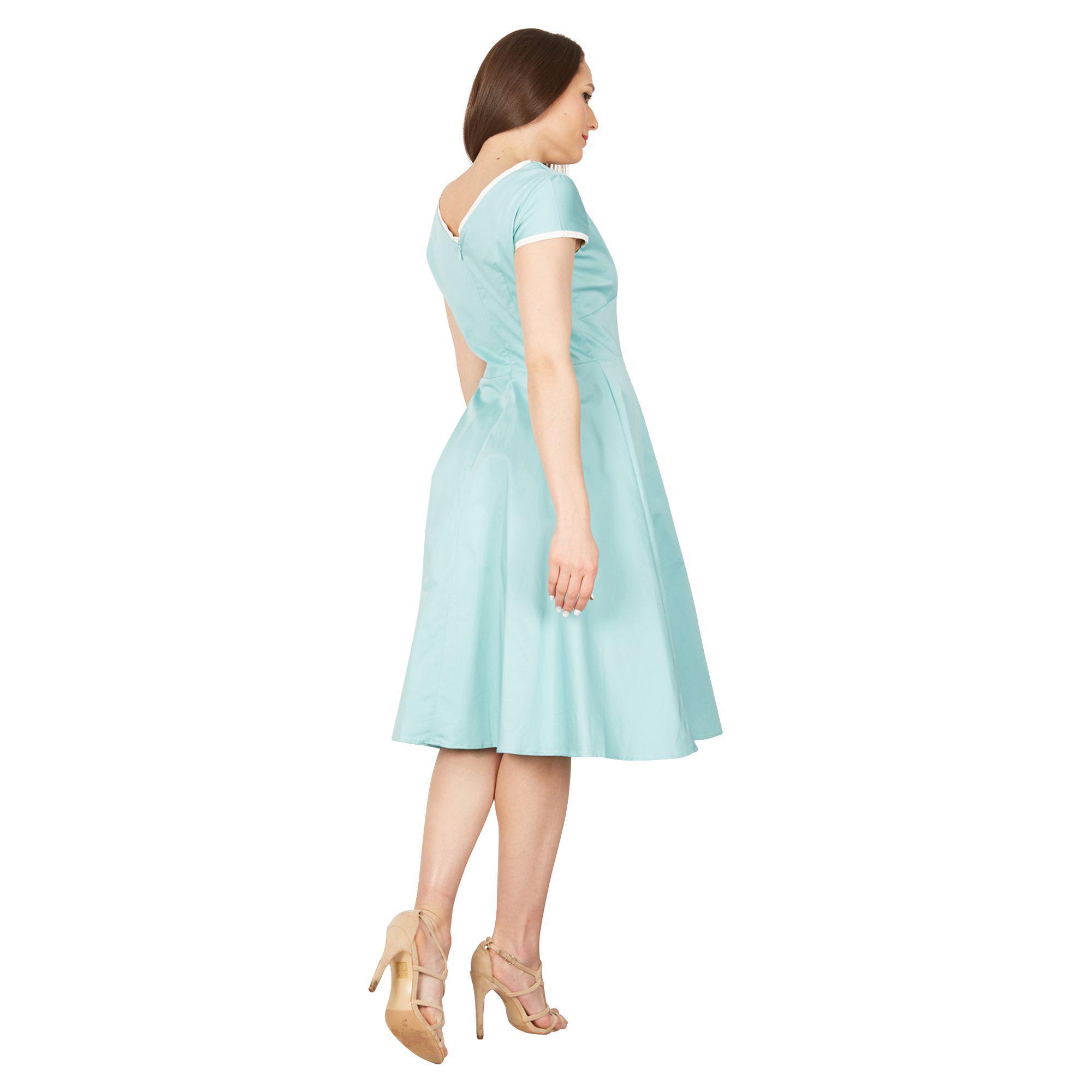 1078311942f1a Jolie Moi - Light Green Trimmed V Neck Cap Sleeve Swing Dress - Lyst. View  fullscreen