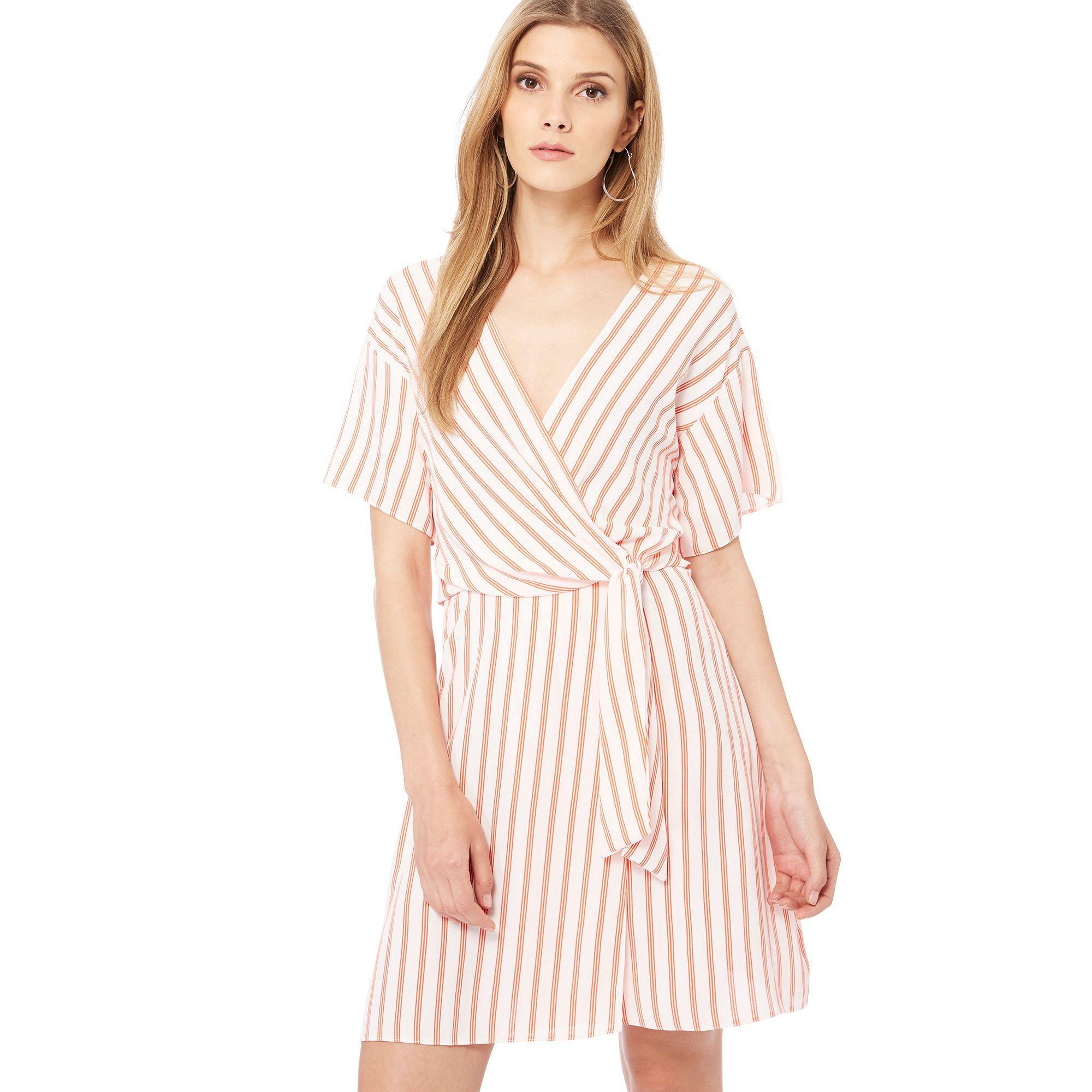 370d74758ac Red Herring Ivory Stripe Print Plunge Neck Mini Dress in White - Lyst