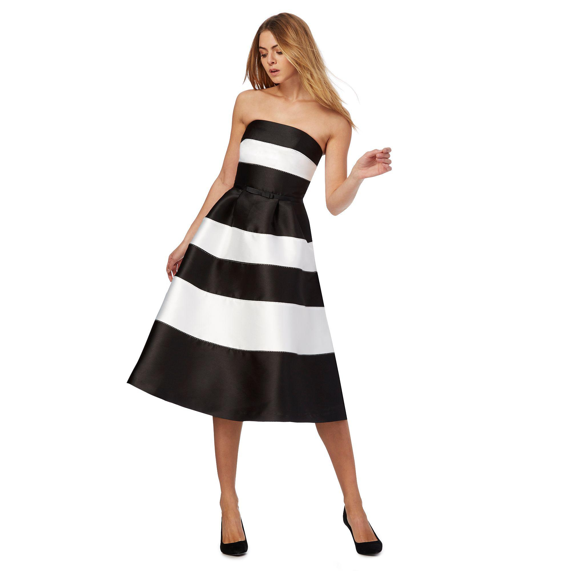 9d9ca5406a816 Black And White Striped Prom Dress - raveitsafe
