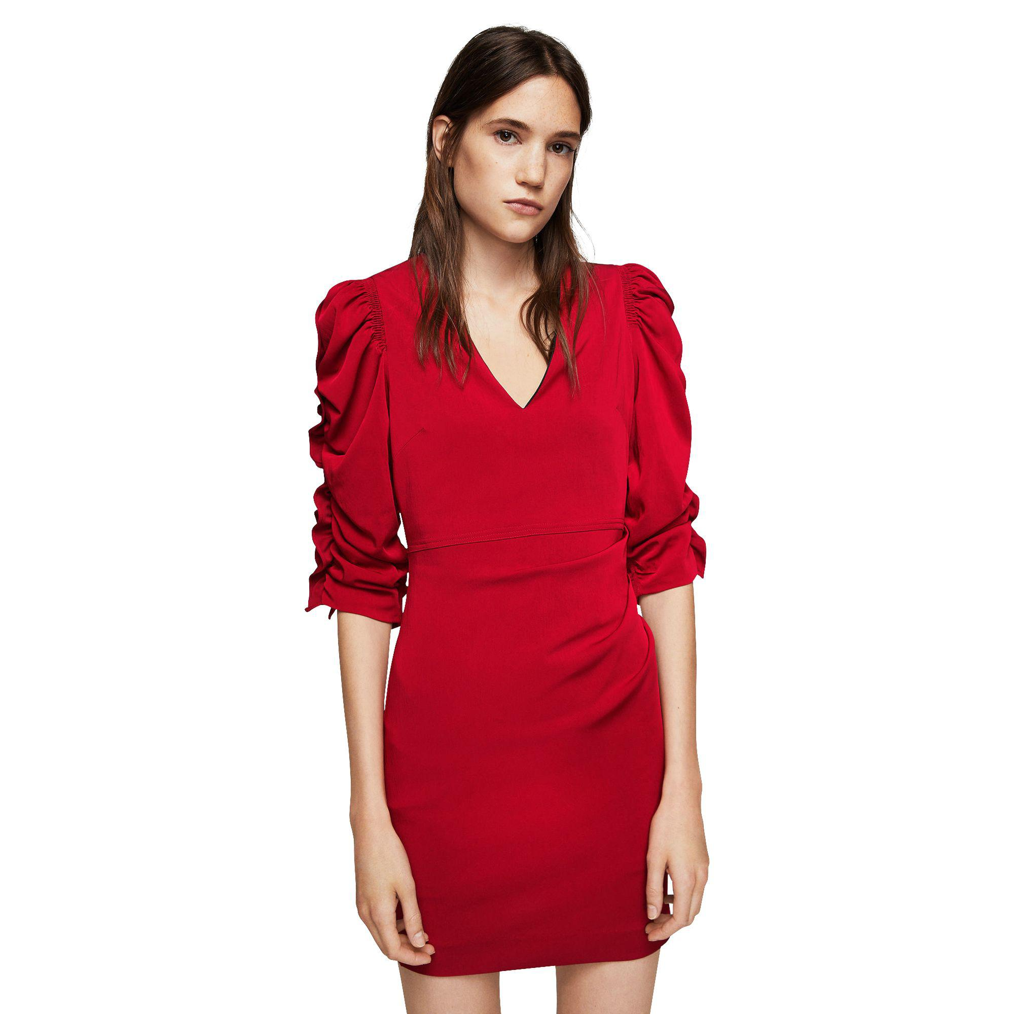 eac71ad34143 Mango Red  fresa  Ruched Sleeve Dress in Pink - Lyst
