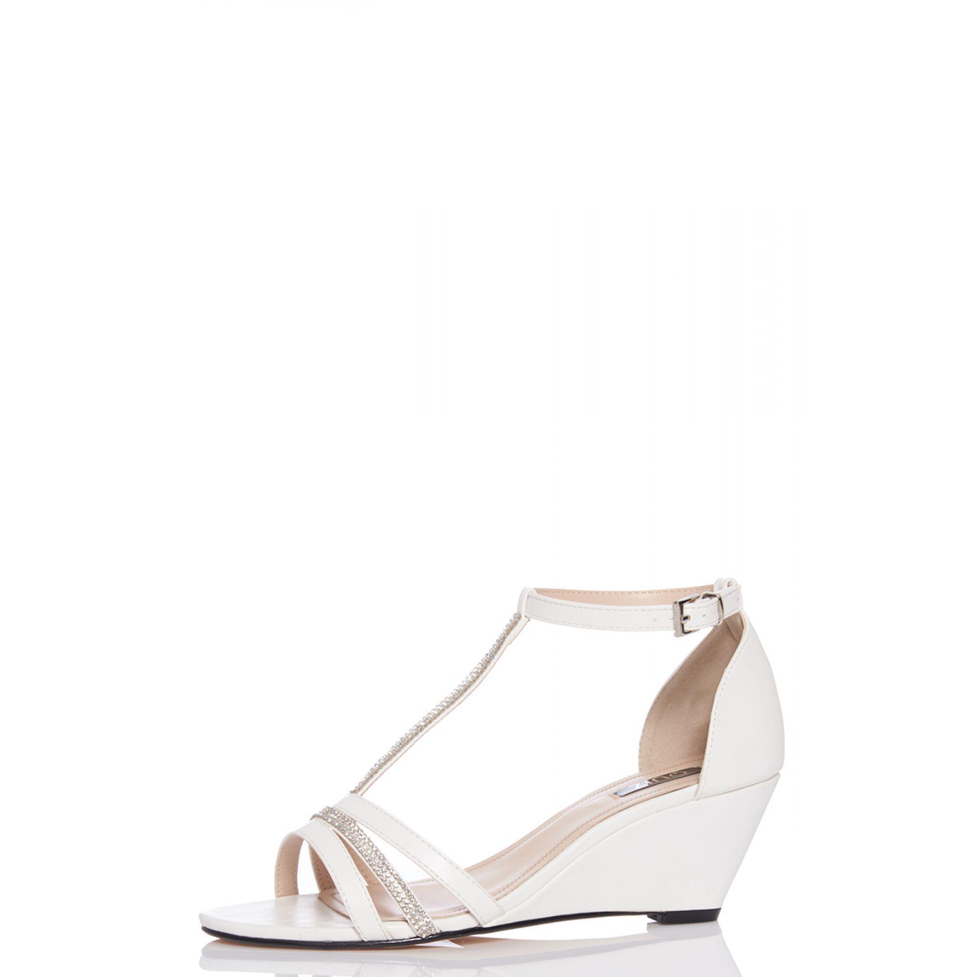5b4b9f2ea3b Quiz White Diamante Strap Low Heel Wedge in White - Lyst