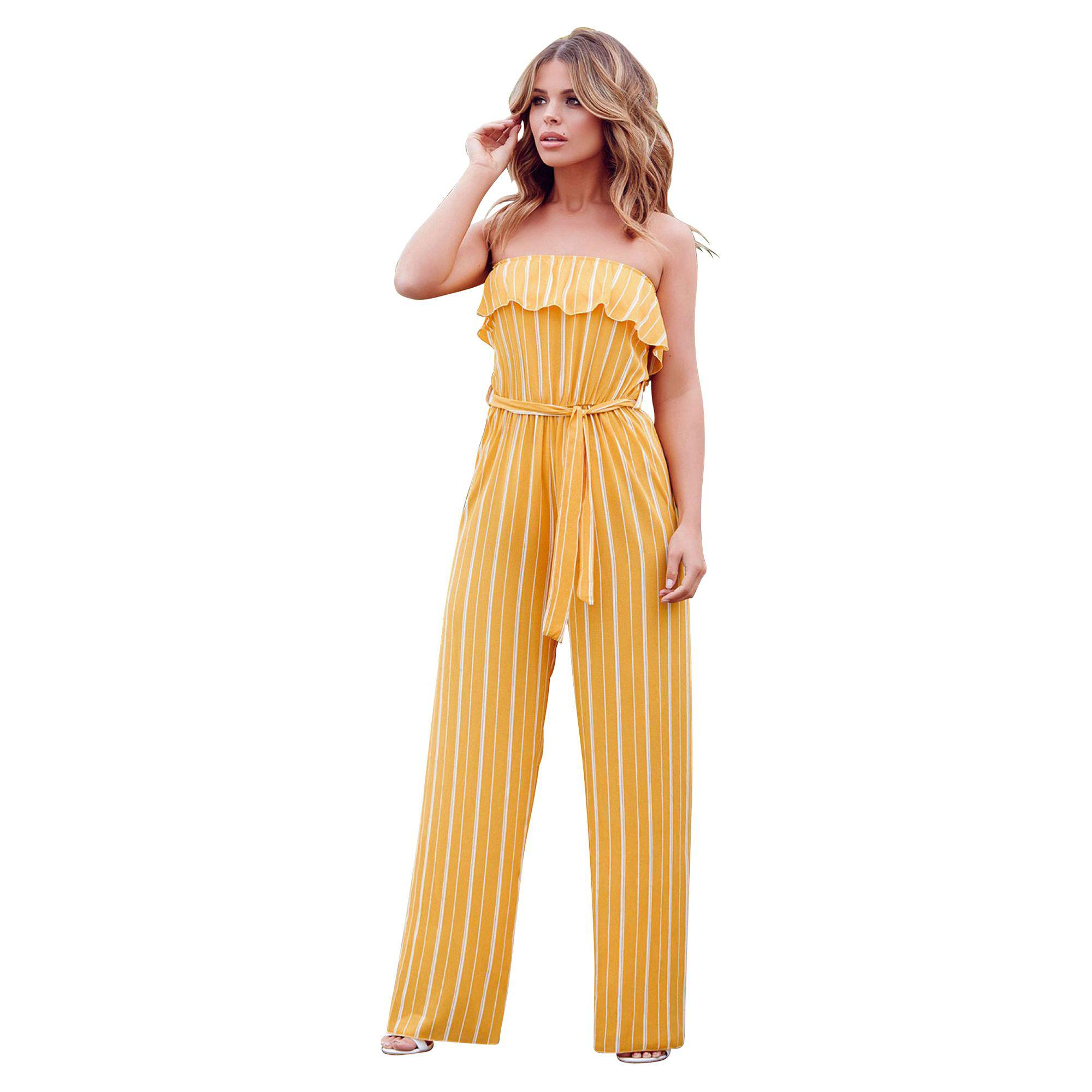 5b891a4966b Quiz Towie Mustard Stripe Bandeau Palazzo Jumpsuit in Yellow - Lyst