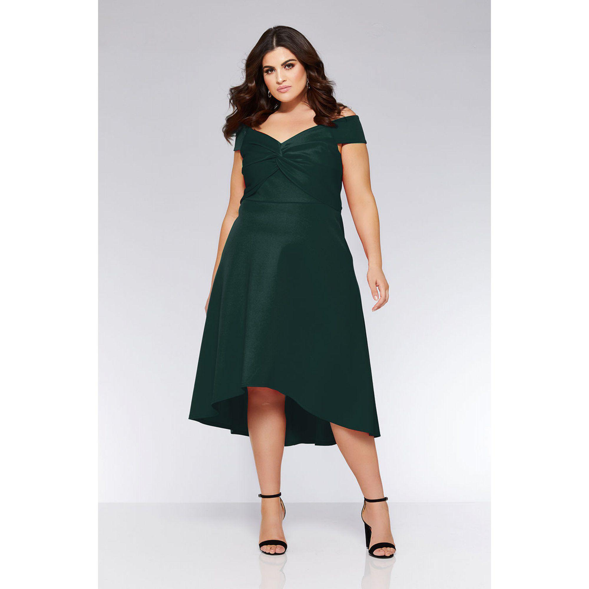 a20c4135151a Quiz Curve Bottle Green Knot Front Bardot Dress in Green - Lyst