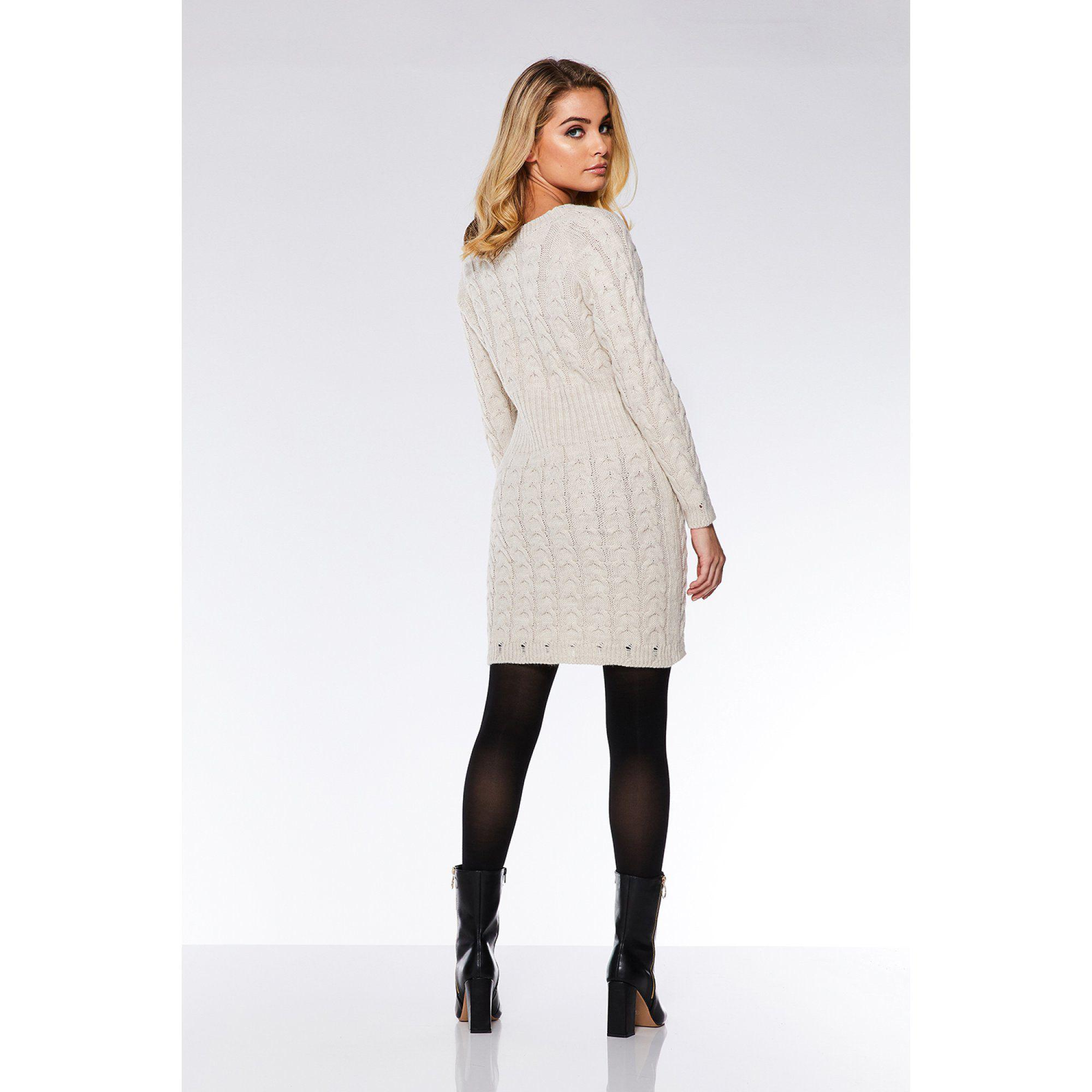 4299854e4e7f Quiz - Natural Oatmeal Knit Cable Design Jumper Dress - Lyst. View  fullscreen