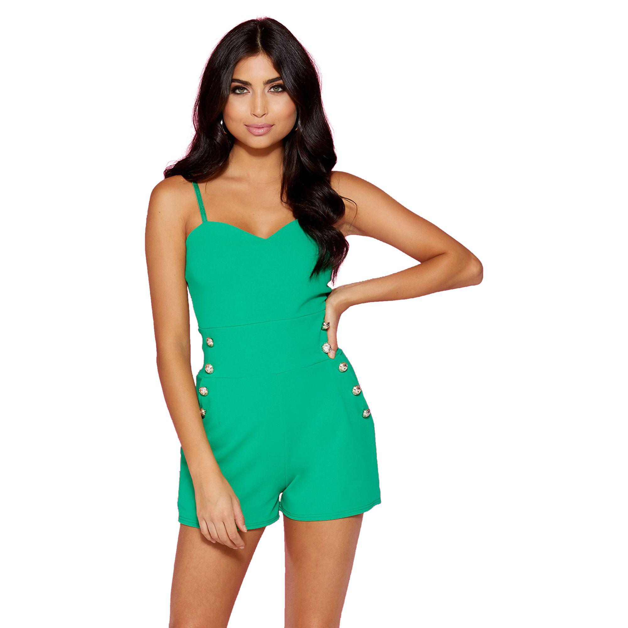 3ac24ffc0d Quiz Green Gold Button Playsuit in Green - Lyst